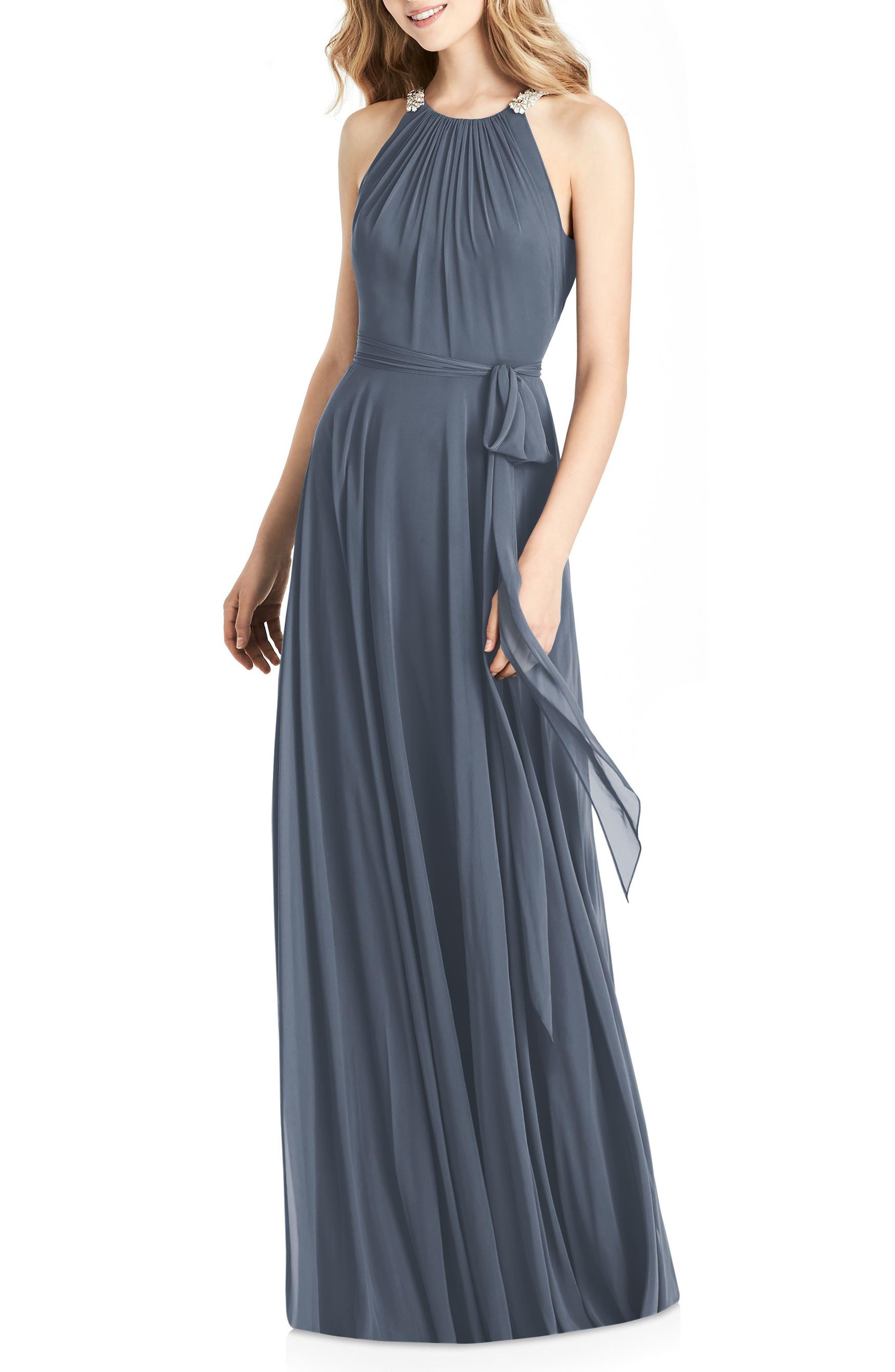 JENNY PACKHAM,                             Beaded Strap Chiffon Gown,                             Main thumbnail 1, color,                             SILVERSTONE