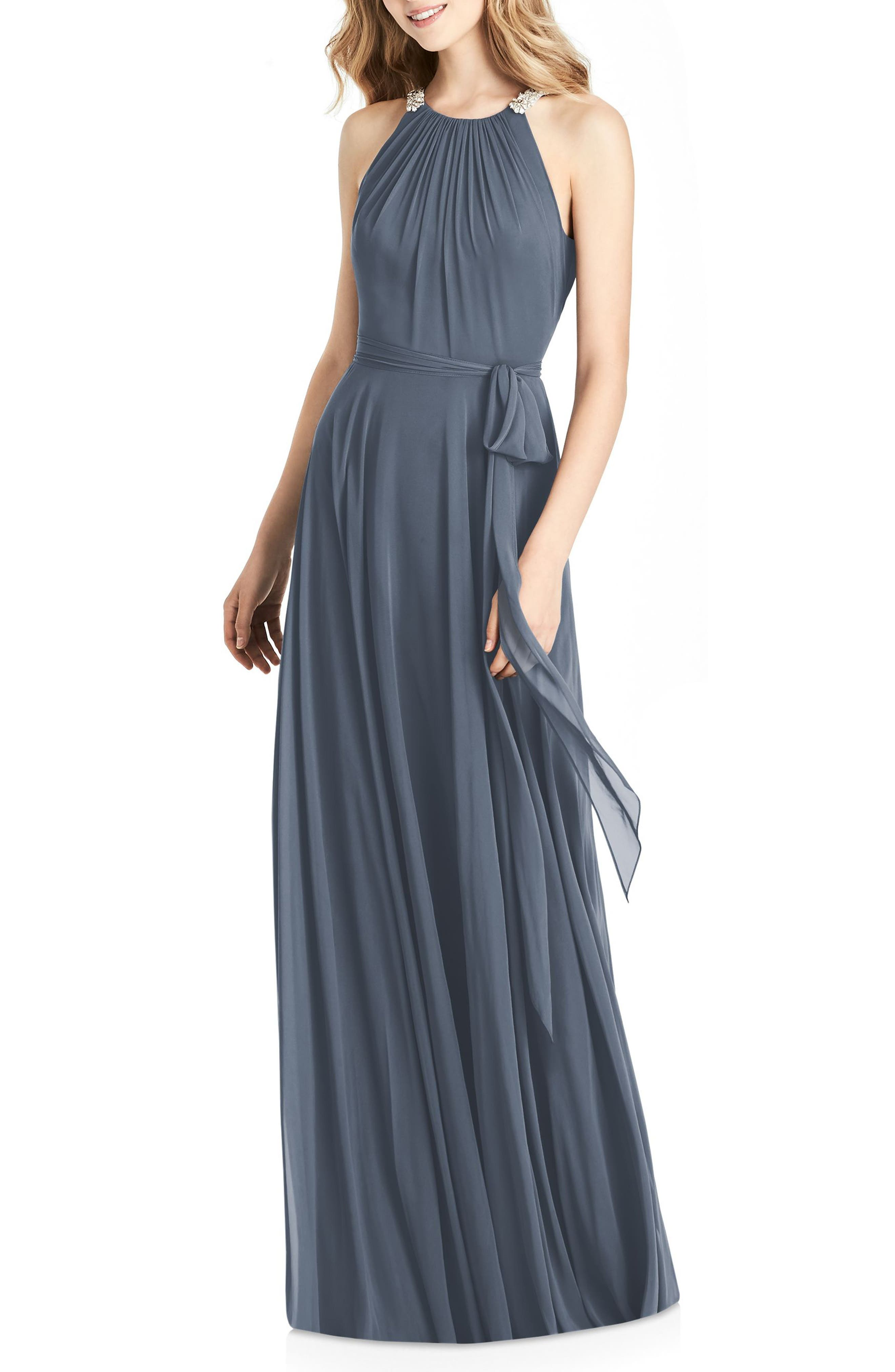 JENNY PACKHAM Beaded Strap Chiffon Gown, Main, color, SILVERSTONE