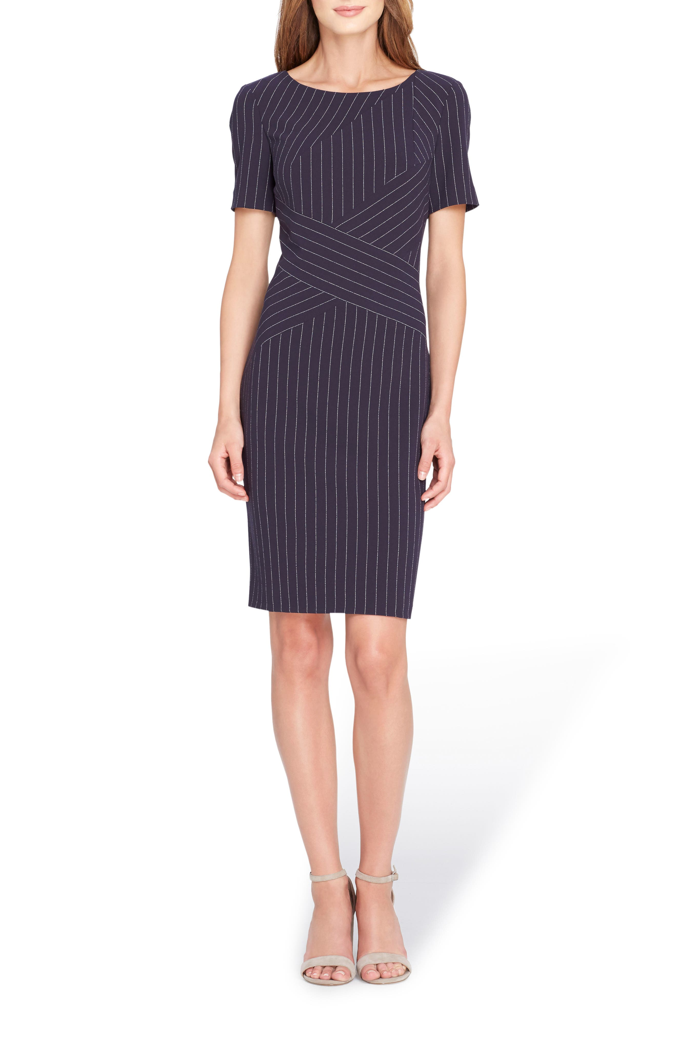 Pinstripe Sheath Dress,                             Main thumbnail 1, color,                             423