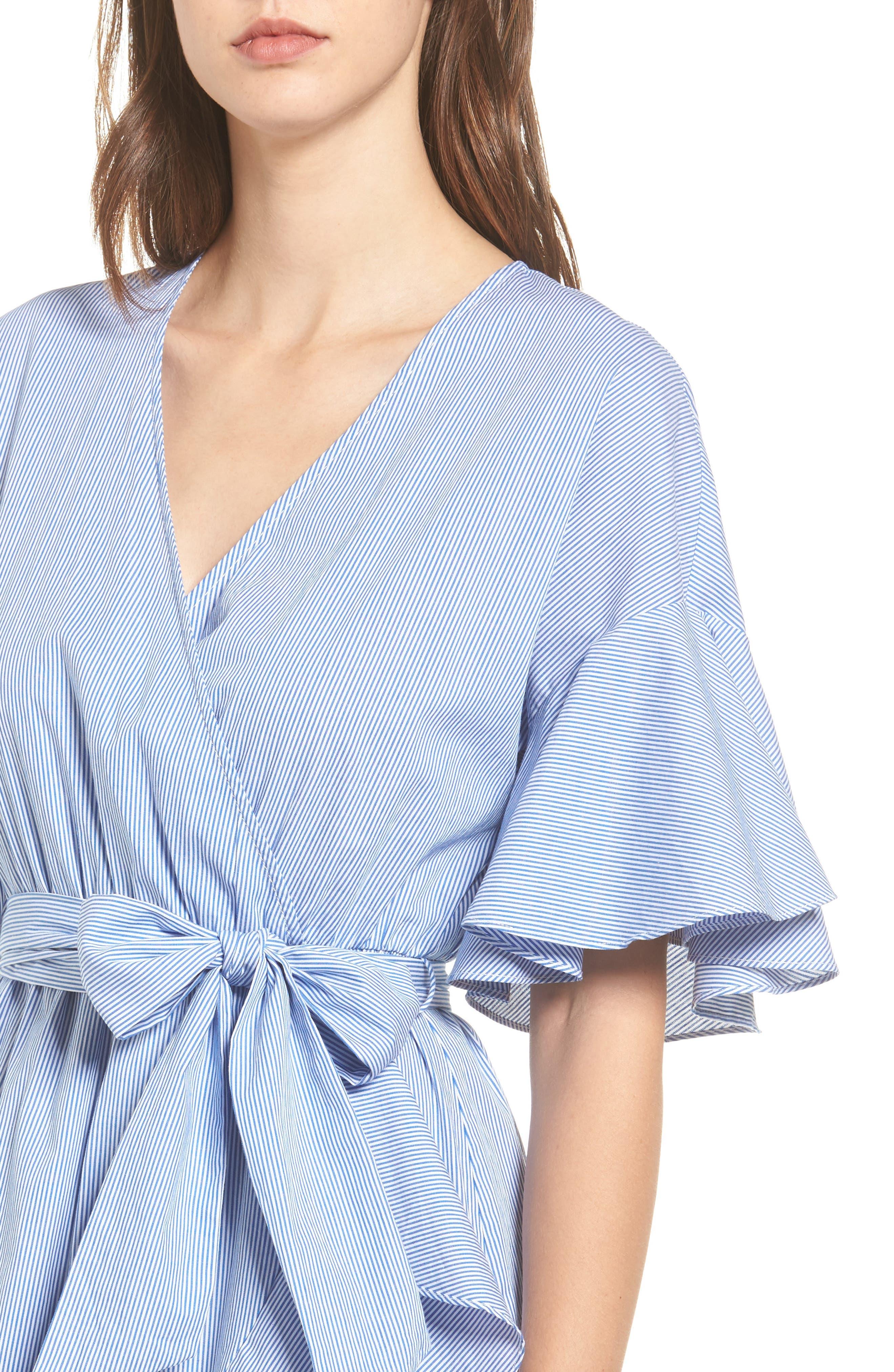 Stripe Wrap Dress,                             Alternate thumbnail 4, color,                             400