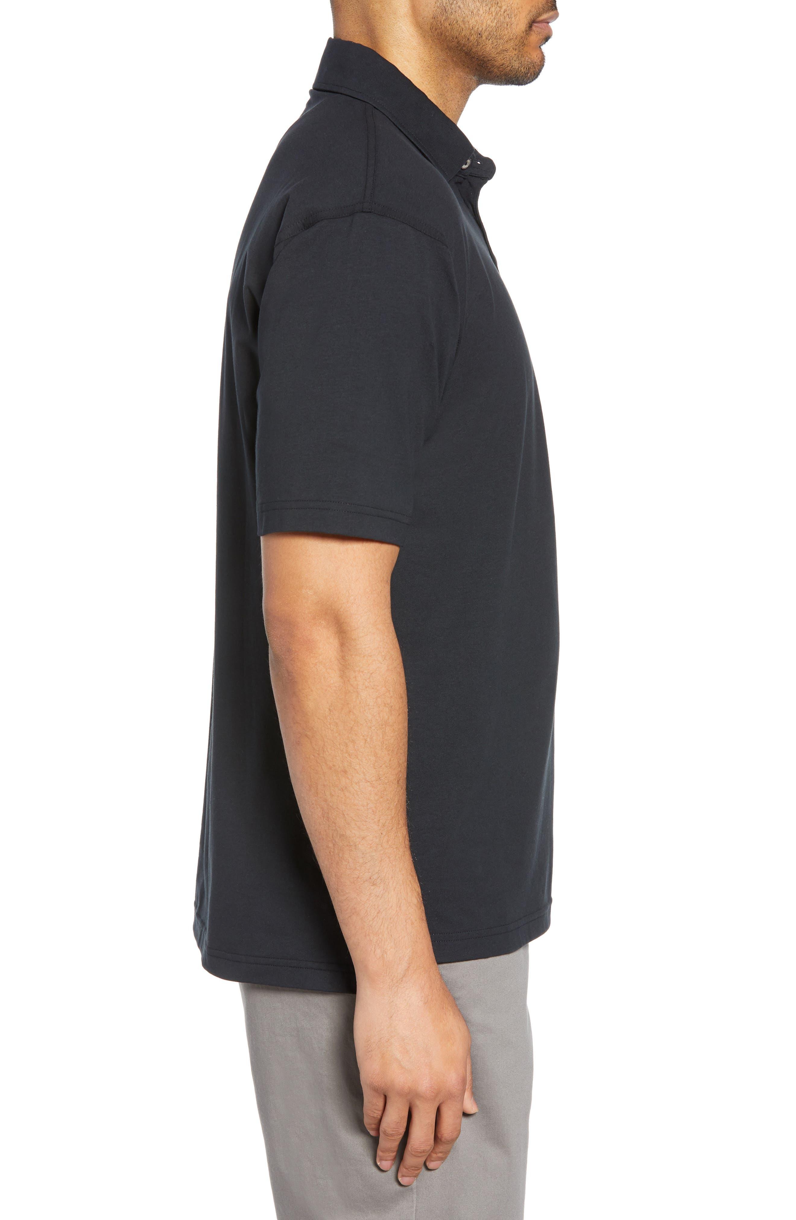 BOBBY JONES,                             Liquid Cotton Stretch Jersey Polo,                             Alternate thumbnail 3, color,                             BLACK