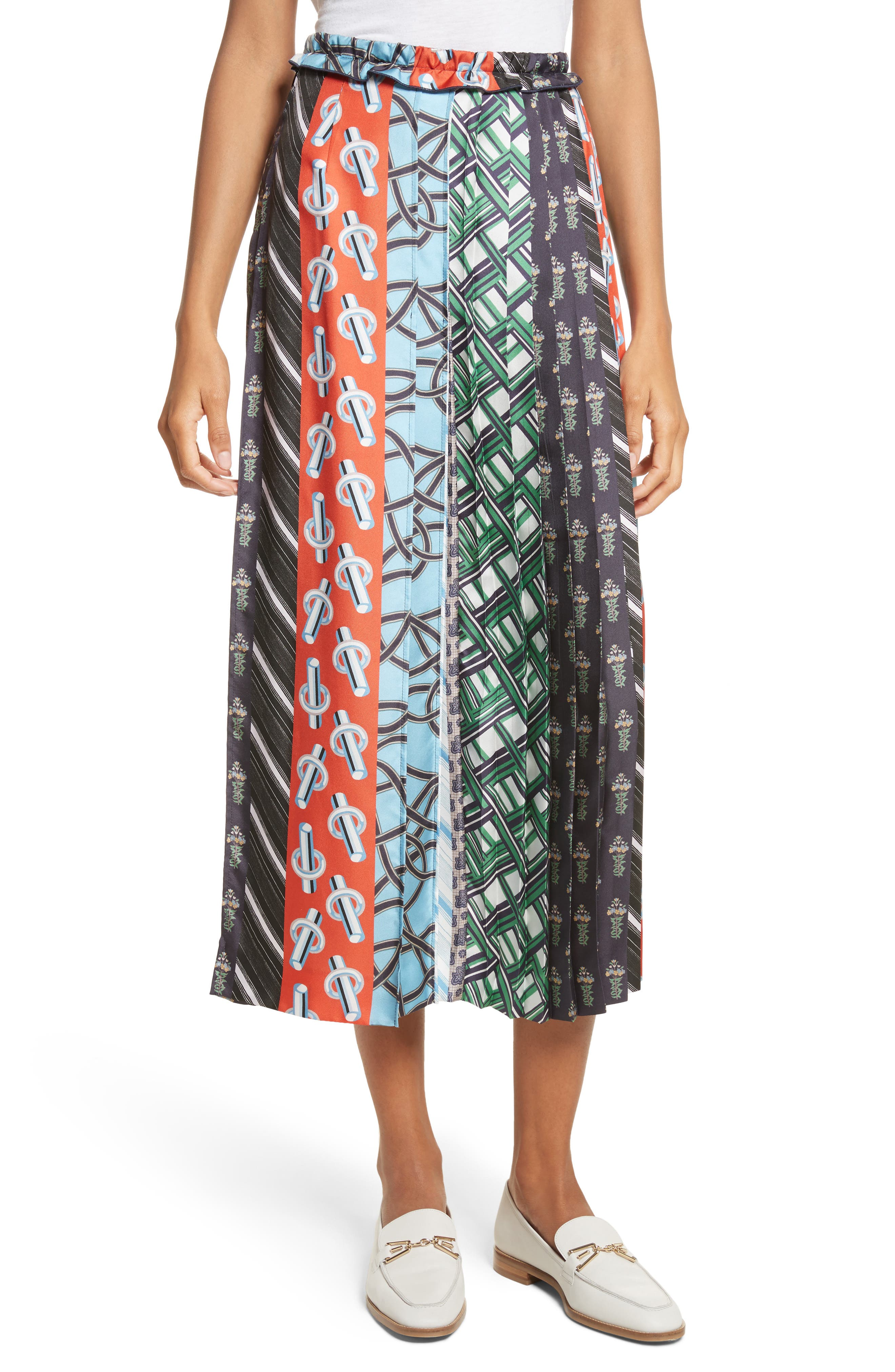 Pleated Mix Print Silk Skirt,                             Main thumbnail 1, color,                             003