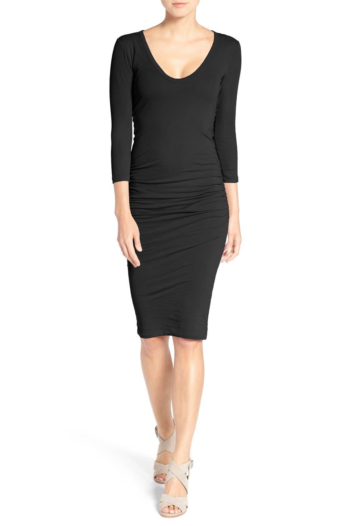 V-Neck Ruched Dress,                             Main thumbnail 1, color,                             001