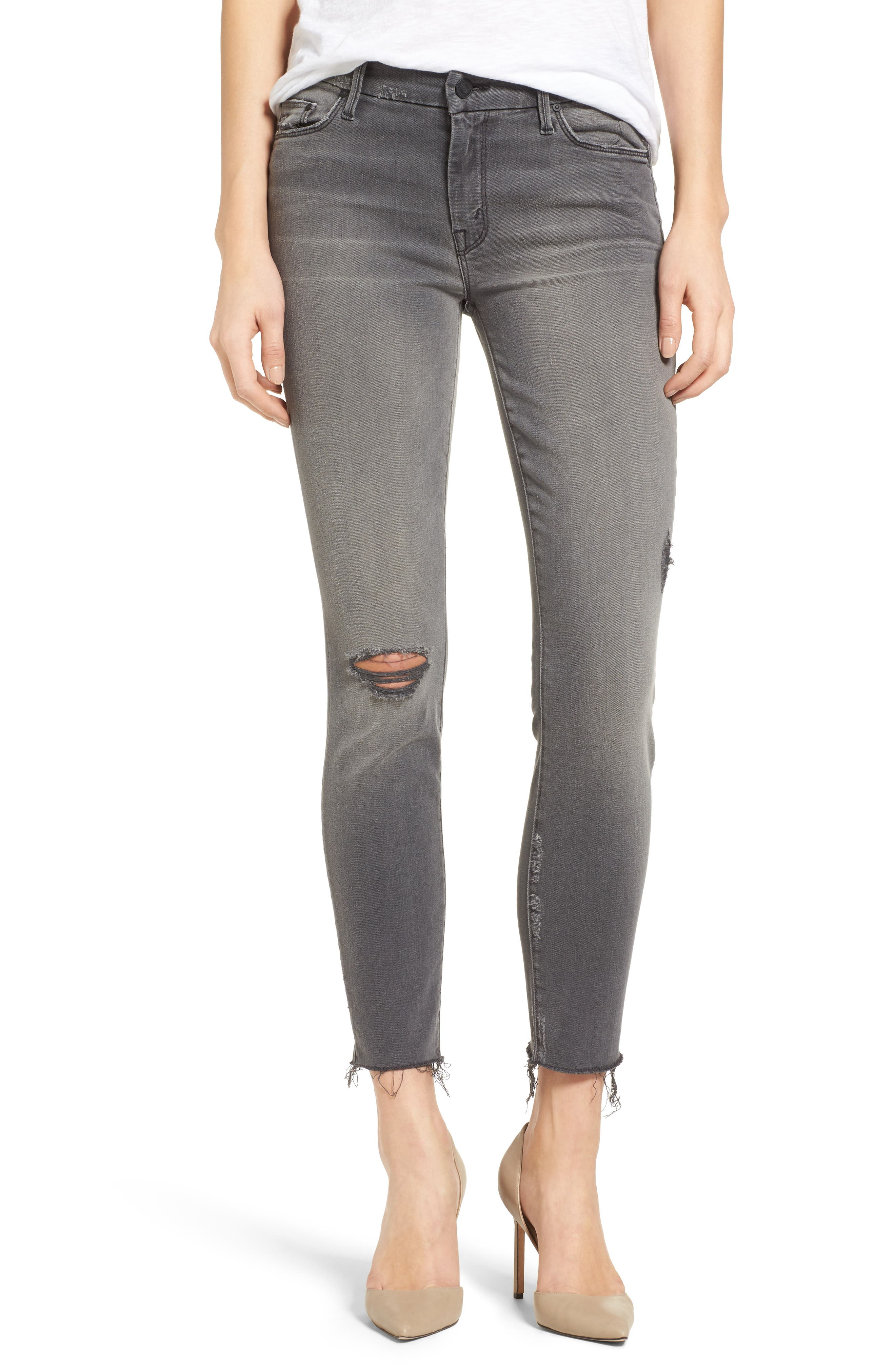 Frayed Ankle Jeans,                             Alternate thumbnail 2, color,                             020