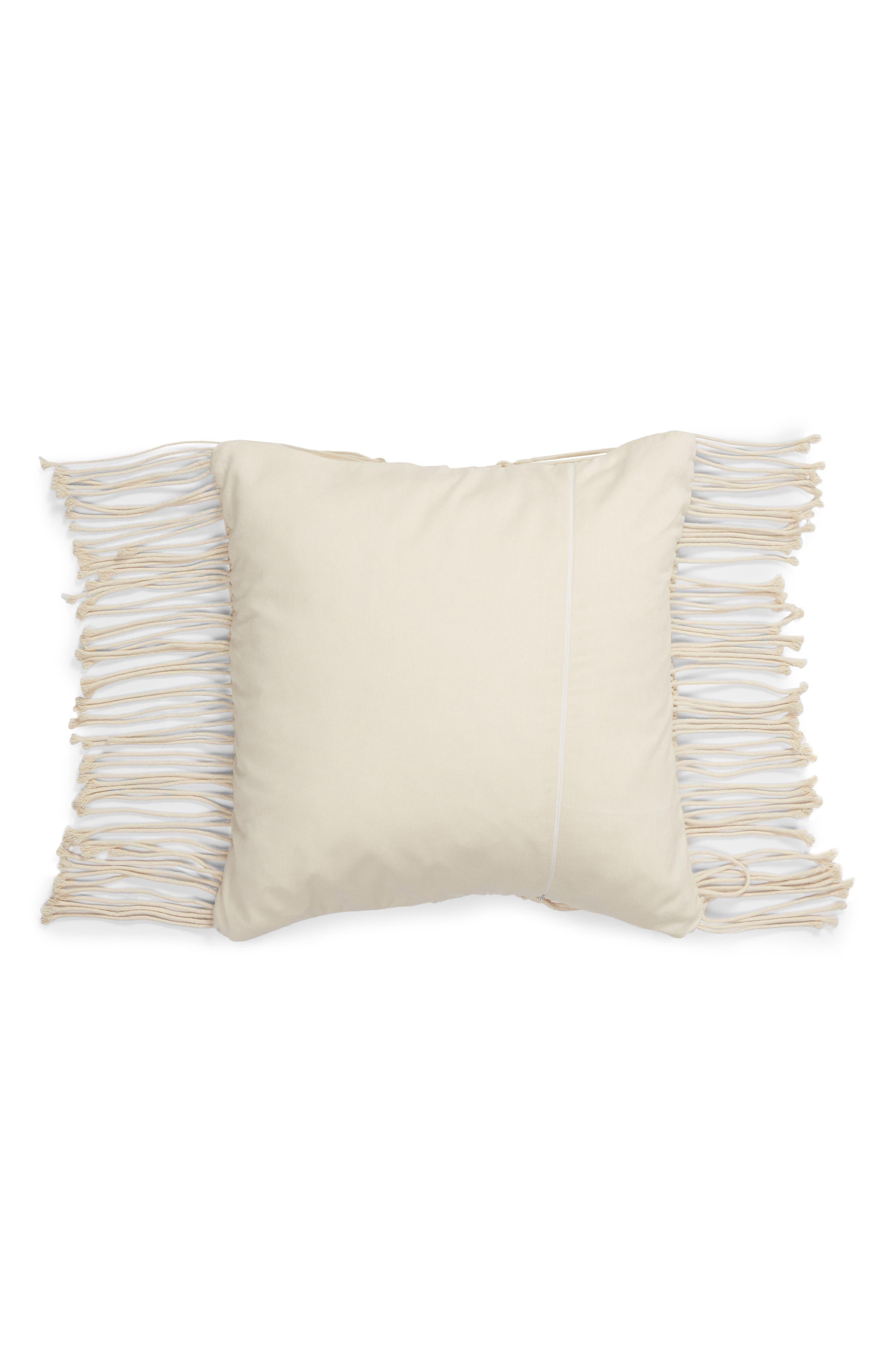 Ayla Macramé Accent Pillow,                             Alternate thumbnail 2, color,                             NATURAL