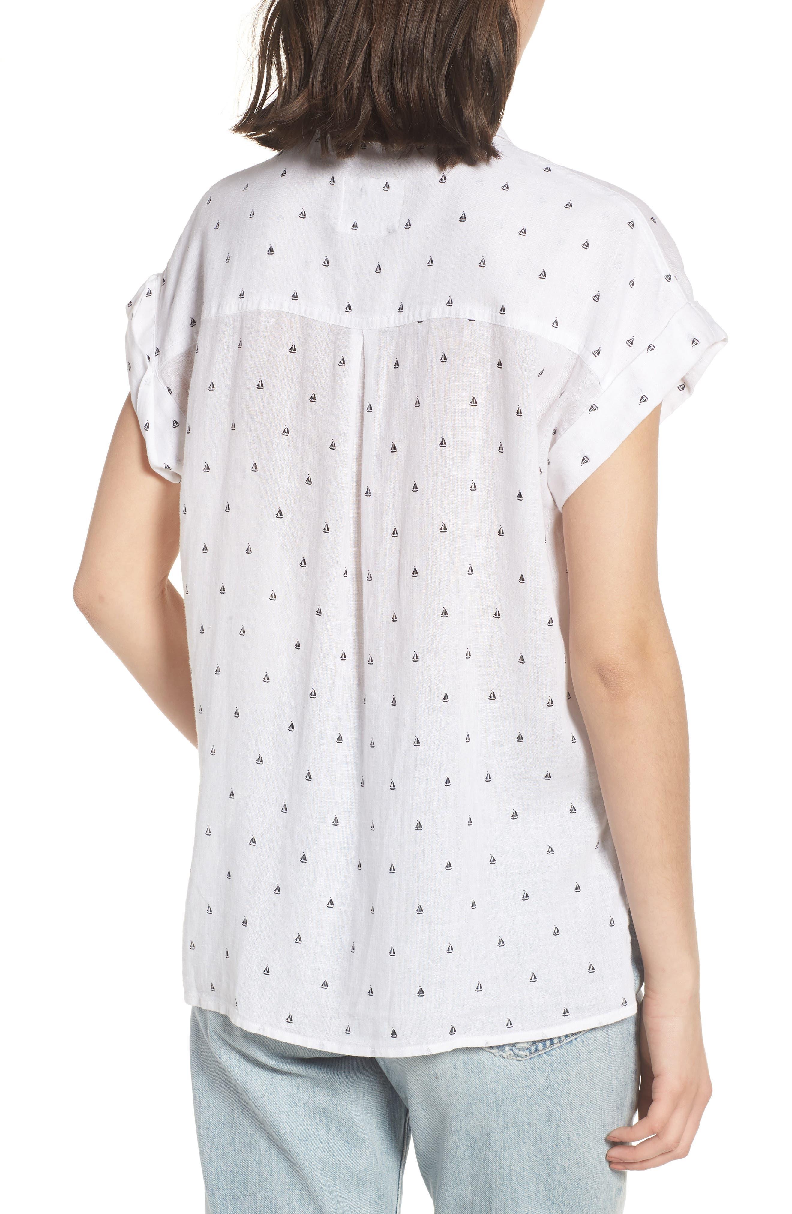 Whitney Sailboat Print Linen Blend Shirt,                             Alternate thumbnail 2, color,                             102