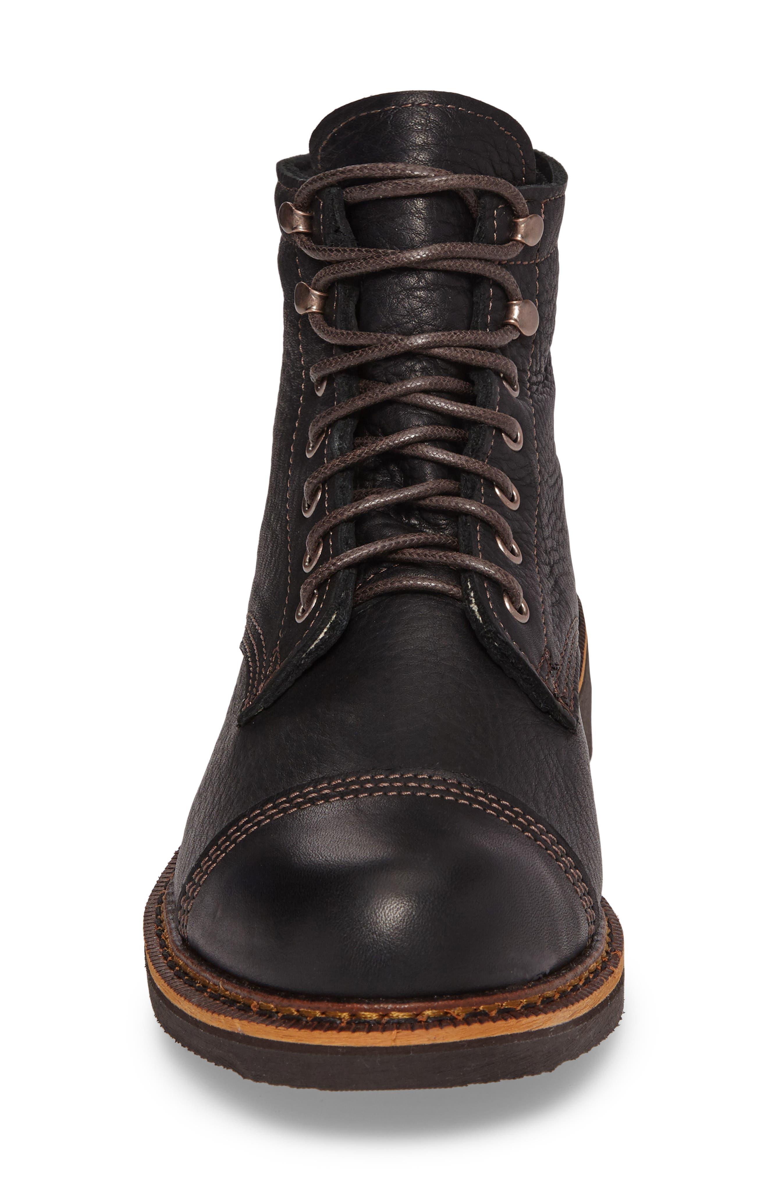 Jensen Cap Toe Boot,                             Alternate thumbnail 4, color,                             BLACK