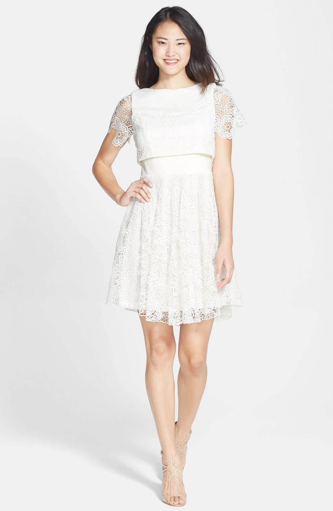 EVA FRANCO,                             'Mira' Lace & Crepe Popover Dress,                             Alternate thumbnail 4, color,                             100