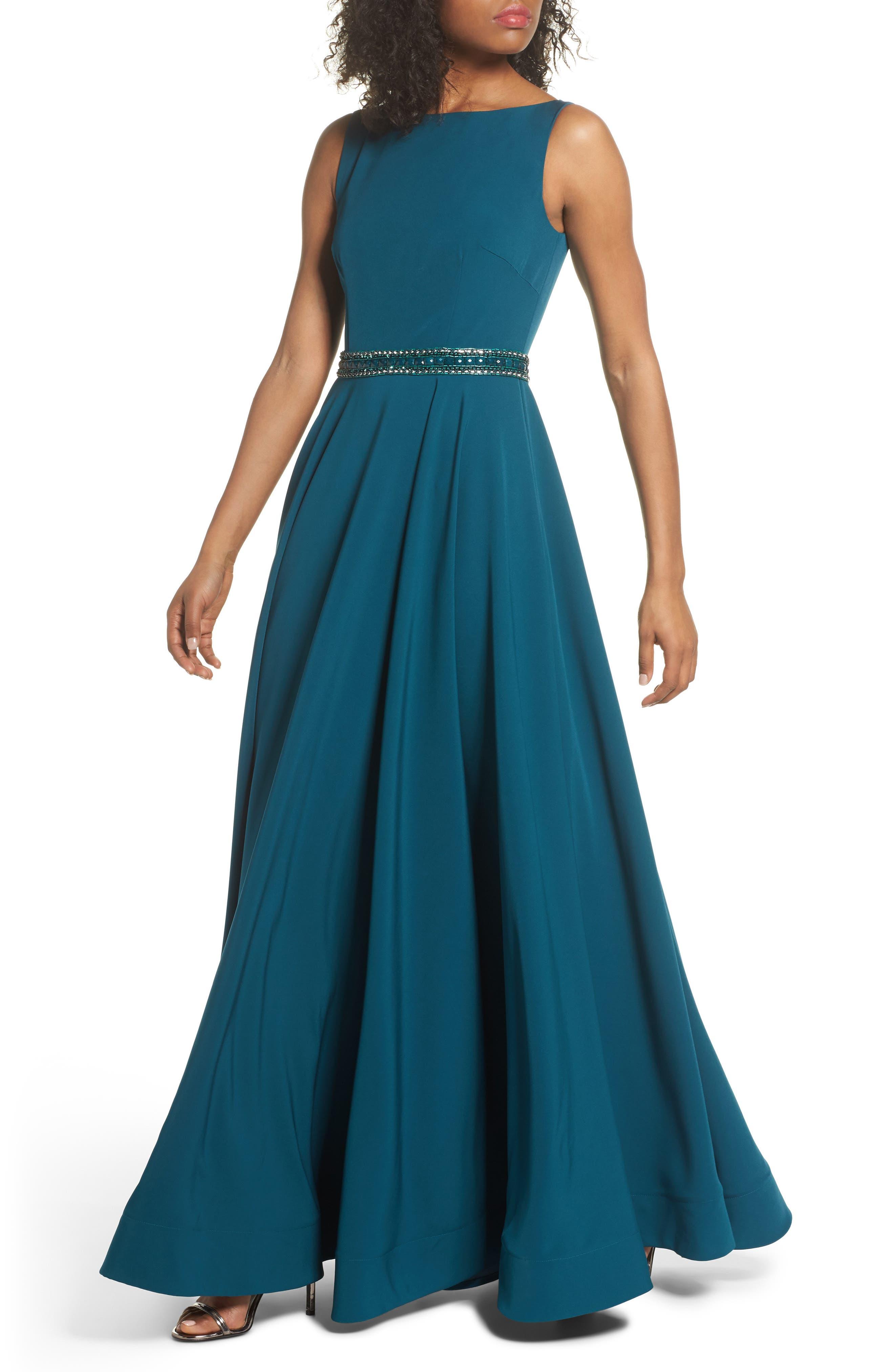 MAC Duggal Beaded Waist Gown, Blue