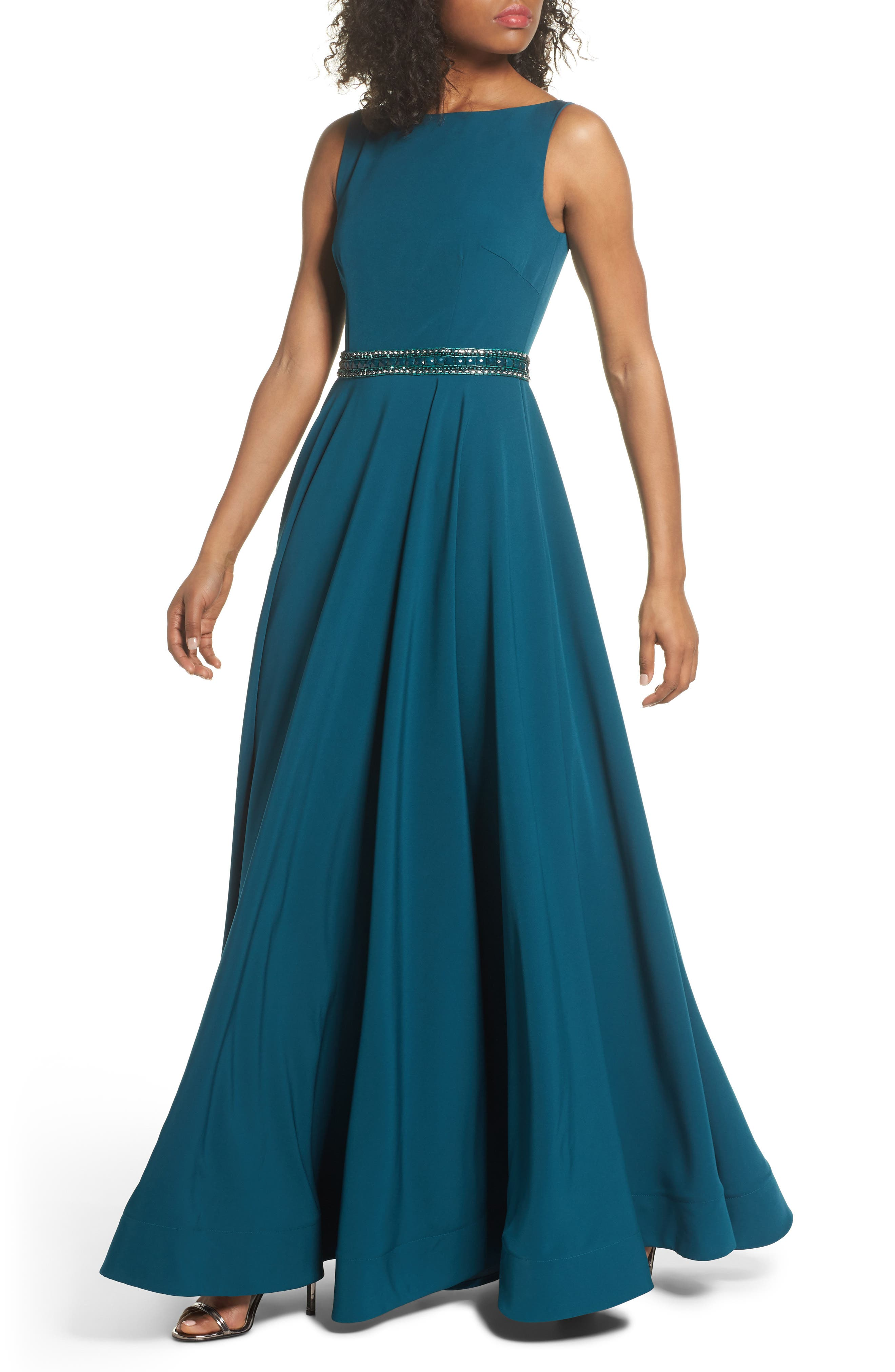 Beaded Waist Gown,                         Main,                         color, TEAL
