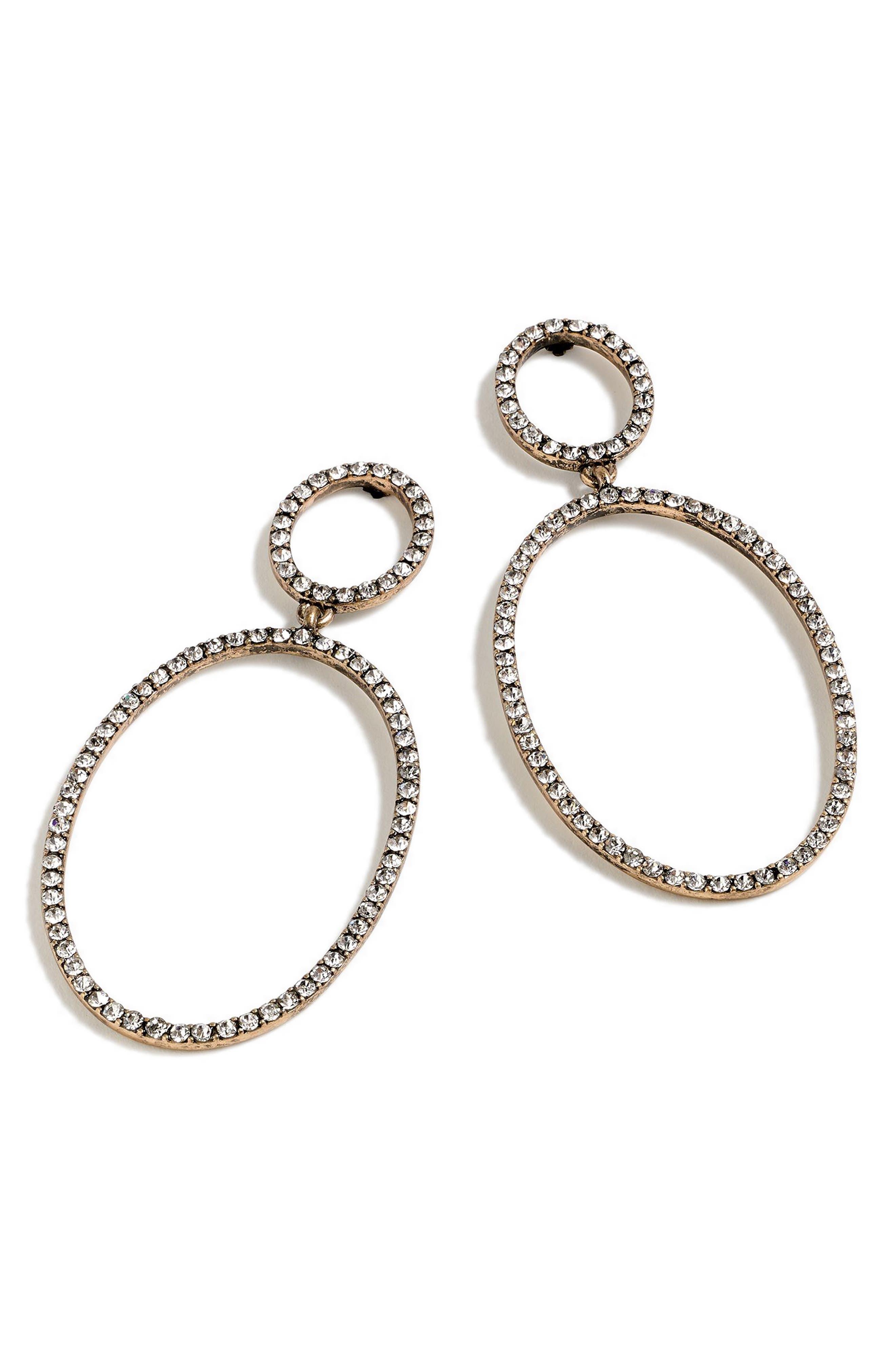 Pavé Double Oval Earrings,                         Main,                         color, CRYSTAL