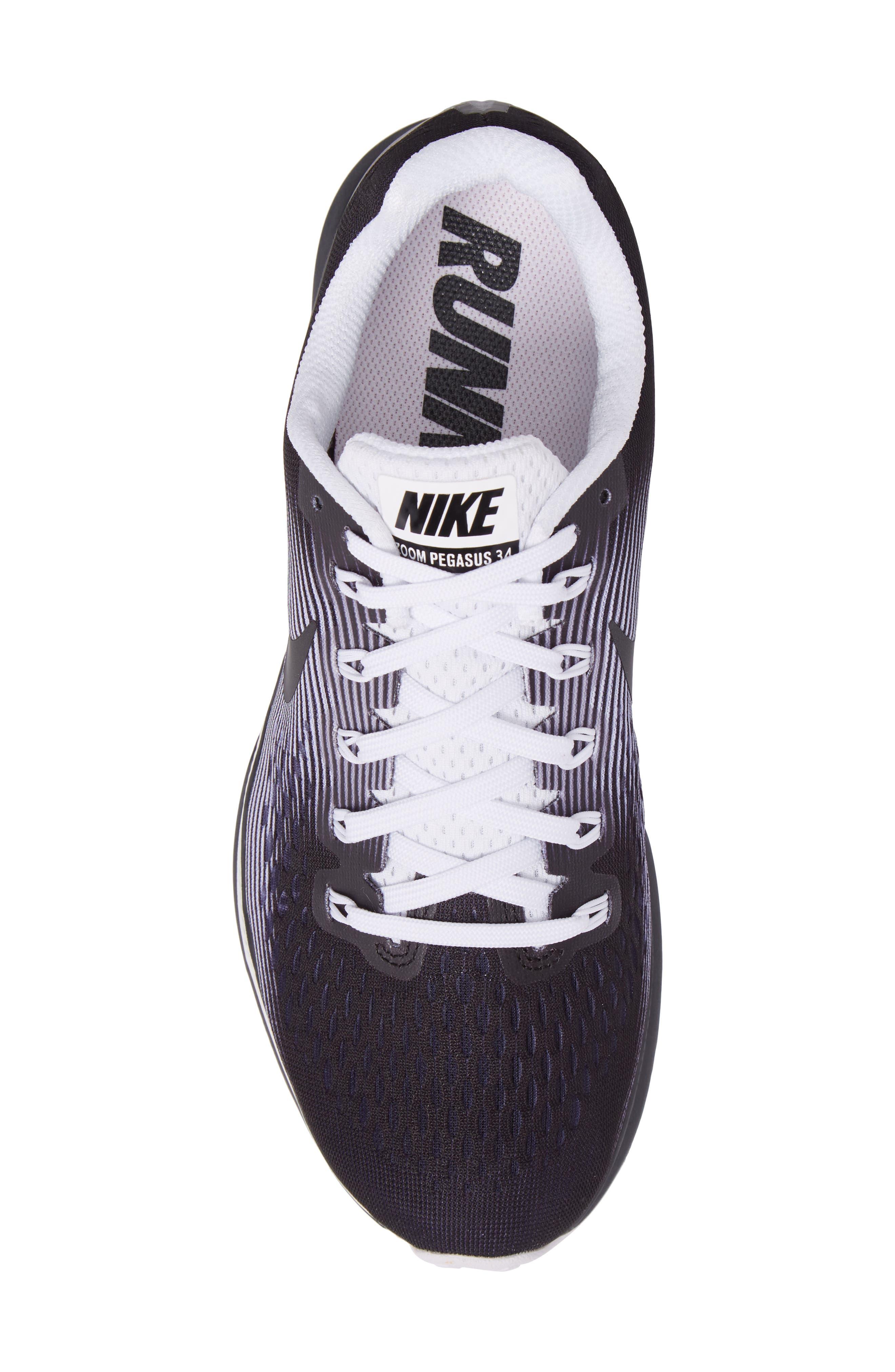 Air Zoom Pegasus 34 LE Running Shoe,                             Alternate thumbnail 5, color,                             001
