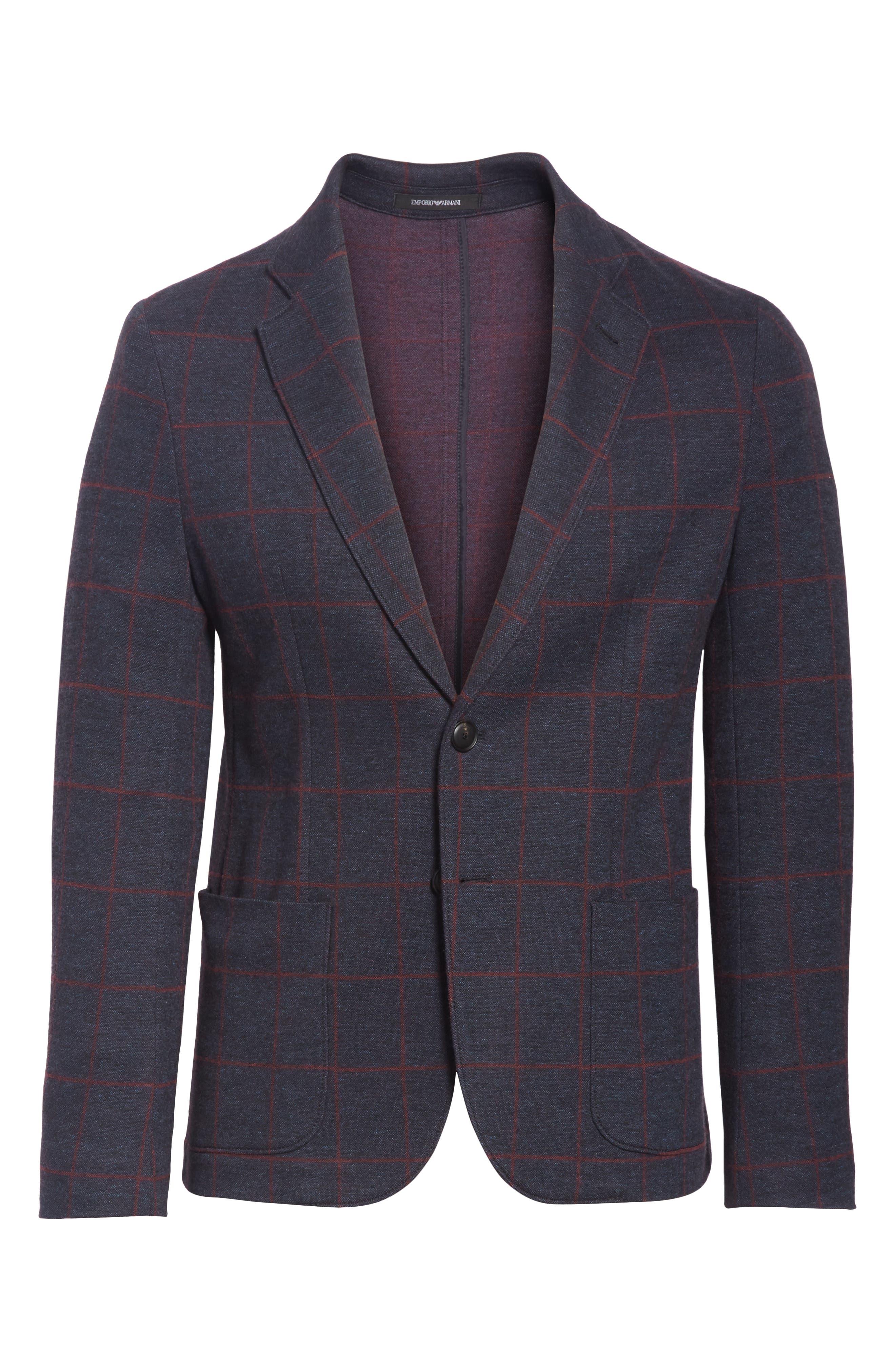 Trim Fit Windowpane Cotton Blend Sport Coat,                             Alternate thumbnail 5, color,                             BLUE MULTI