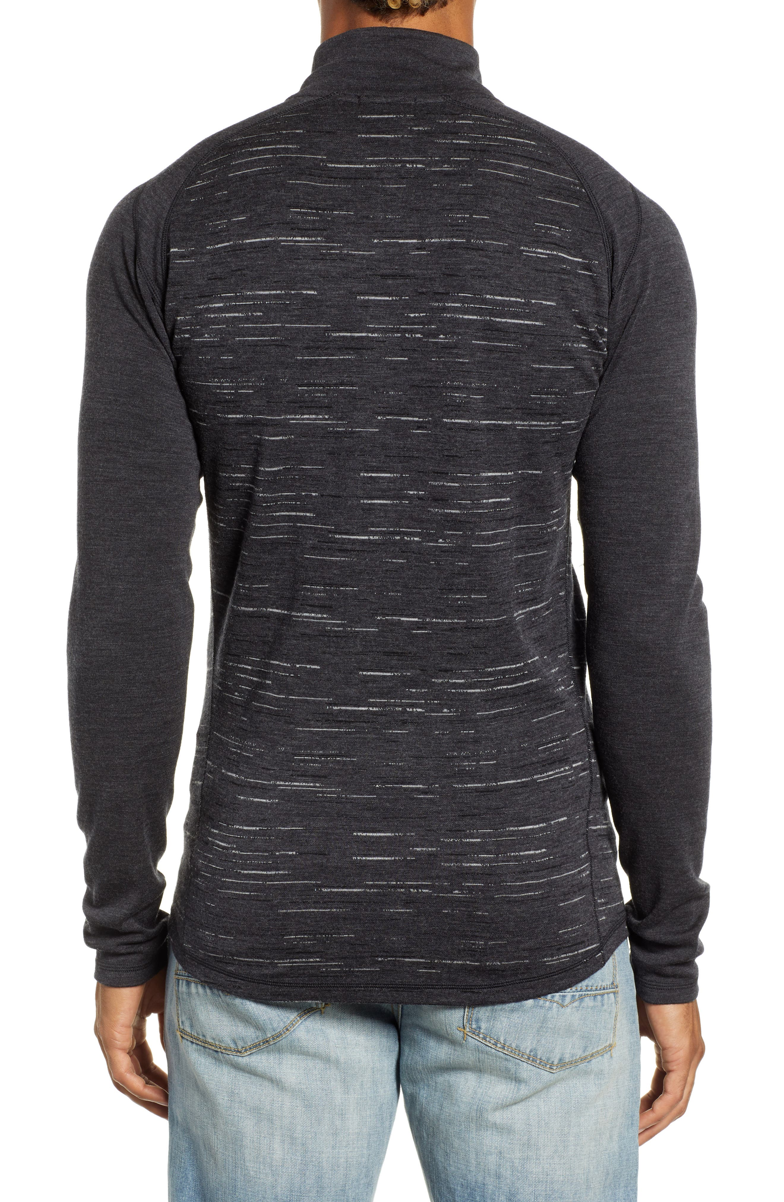 SMARTWOOL,                             Merino 250 Base Layer Pattern Quarter Zip Pullover,                             Alternate thumbnail 2, color,                             CHARCOAL/ BLACK