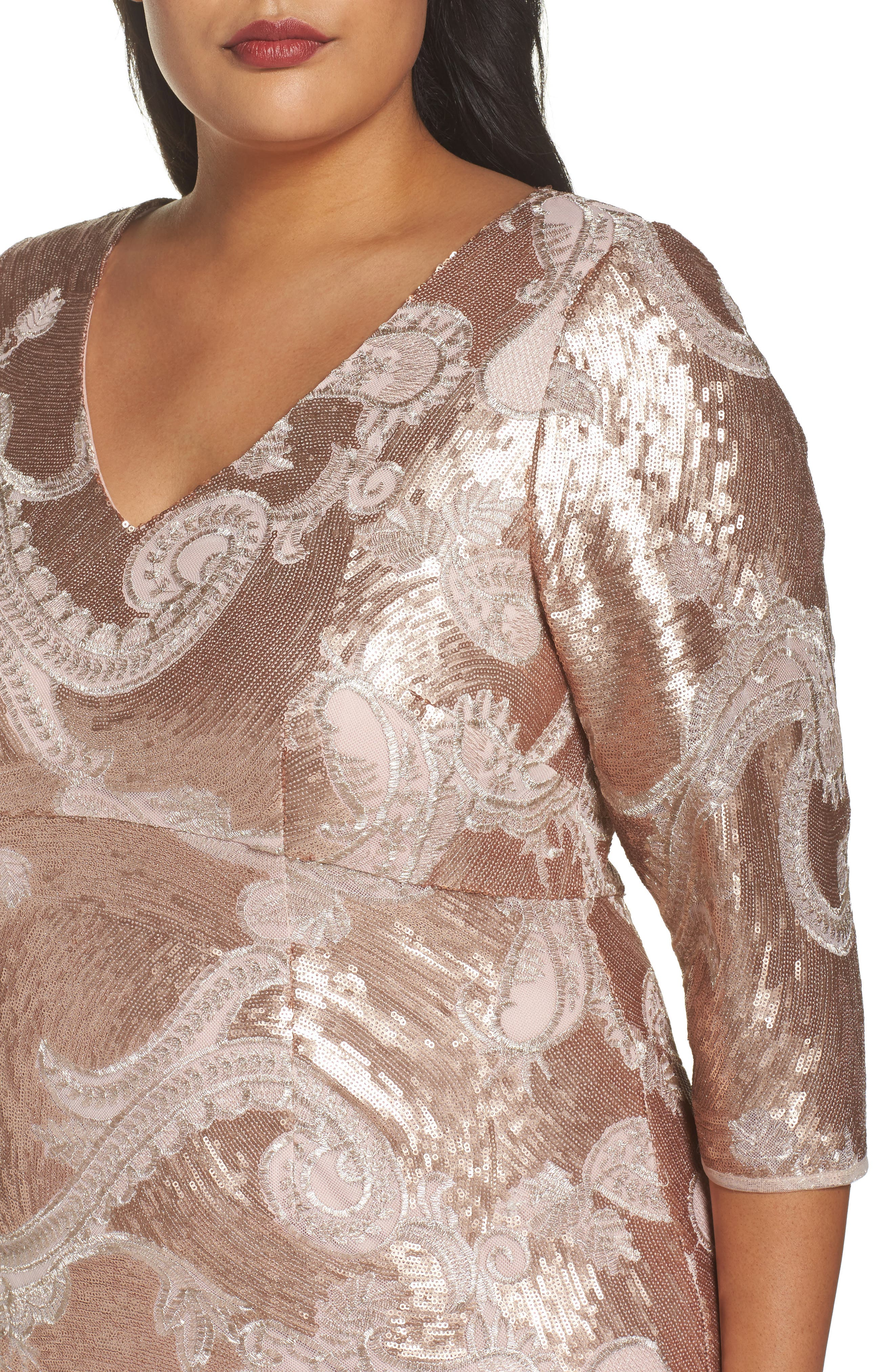 Sequin Lace Empire Gown,                             Alternate thumbnail 4, color,                             ROSE GOLD