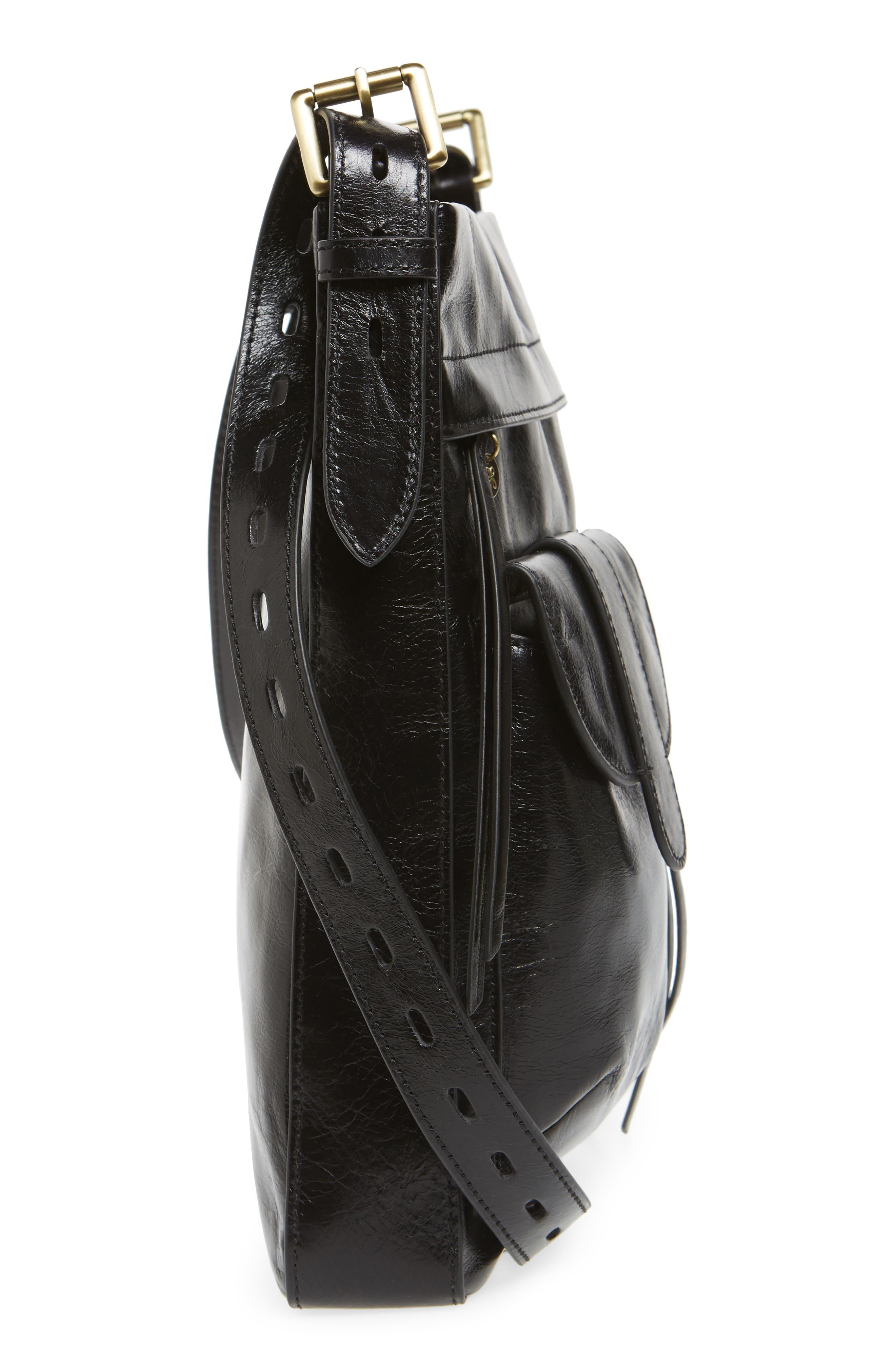 Crusade Leather Crossbody Bag,                             Alternate thumbnail 5, color,                             BLACK