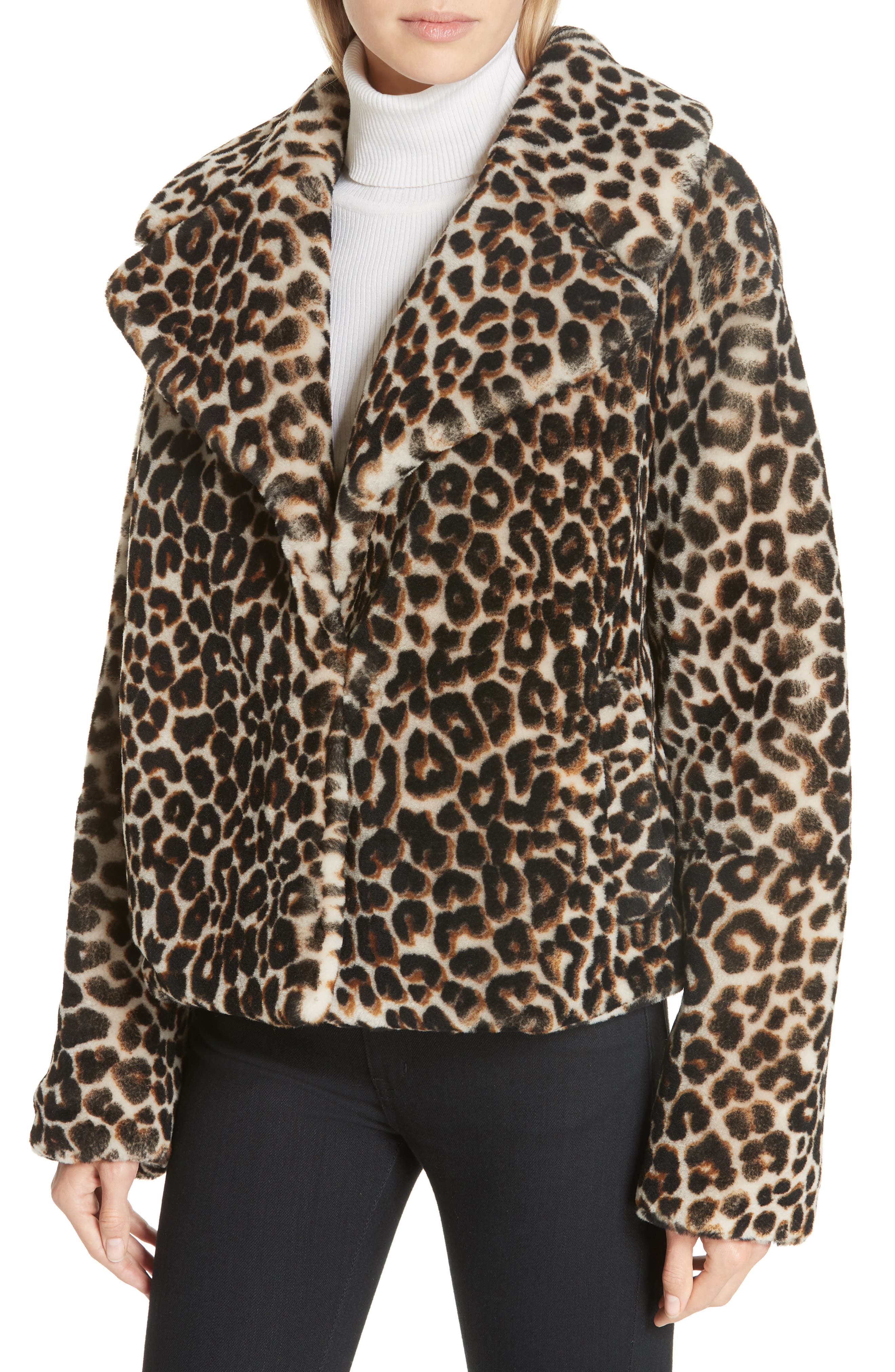 A.L.C.,                             Grant Leopard Print Genuine Shearling Jacket,                             Alternate thumbnail 4, color,                             900