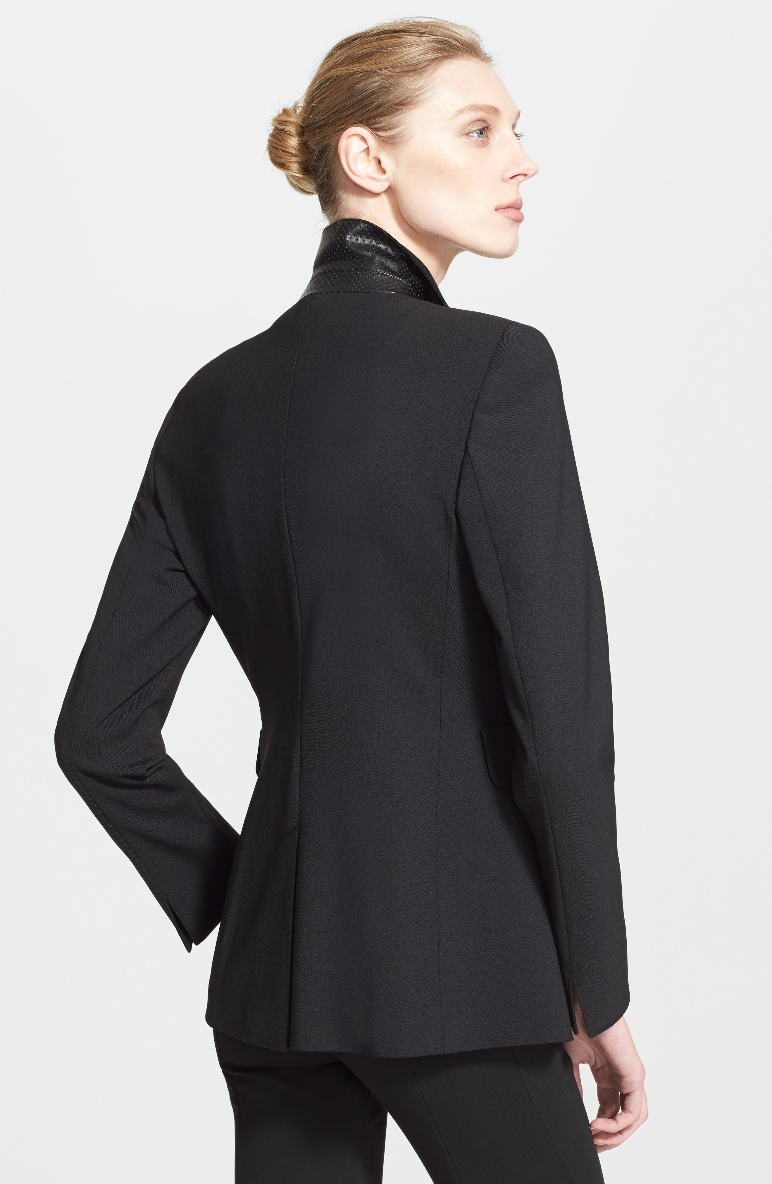 Techno One-Button Jacket,                             Alternate thumbnail 2, color,                             NOIR