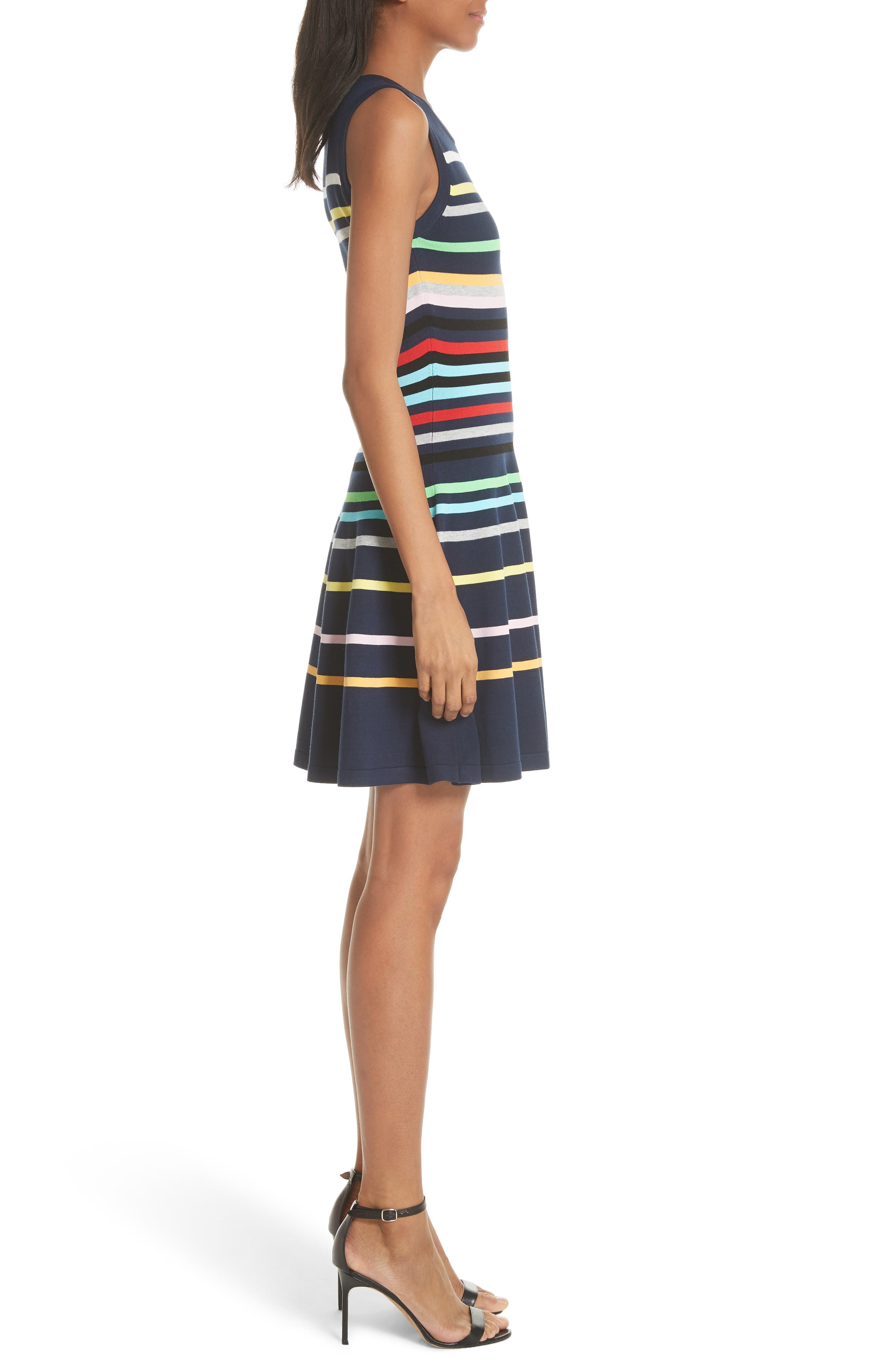 Rainbow Stripe Fit & Flare Dress,                             Alternate thumbnail 3, color,                             405