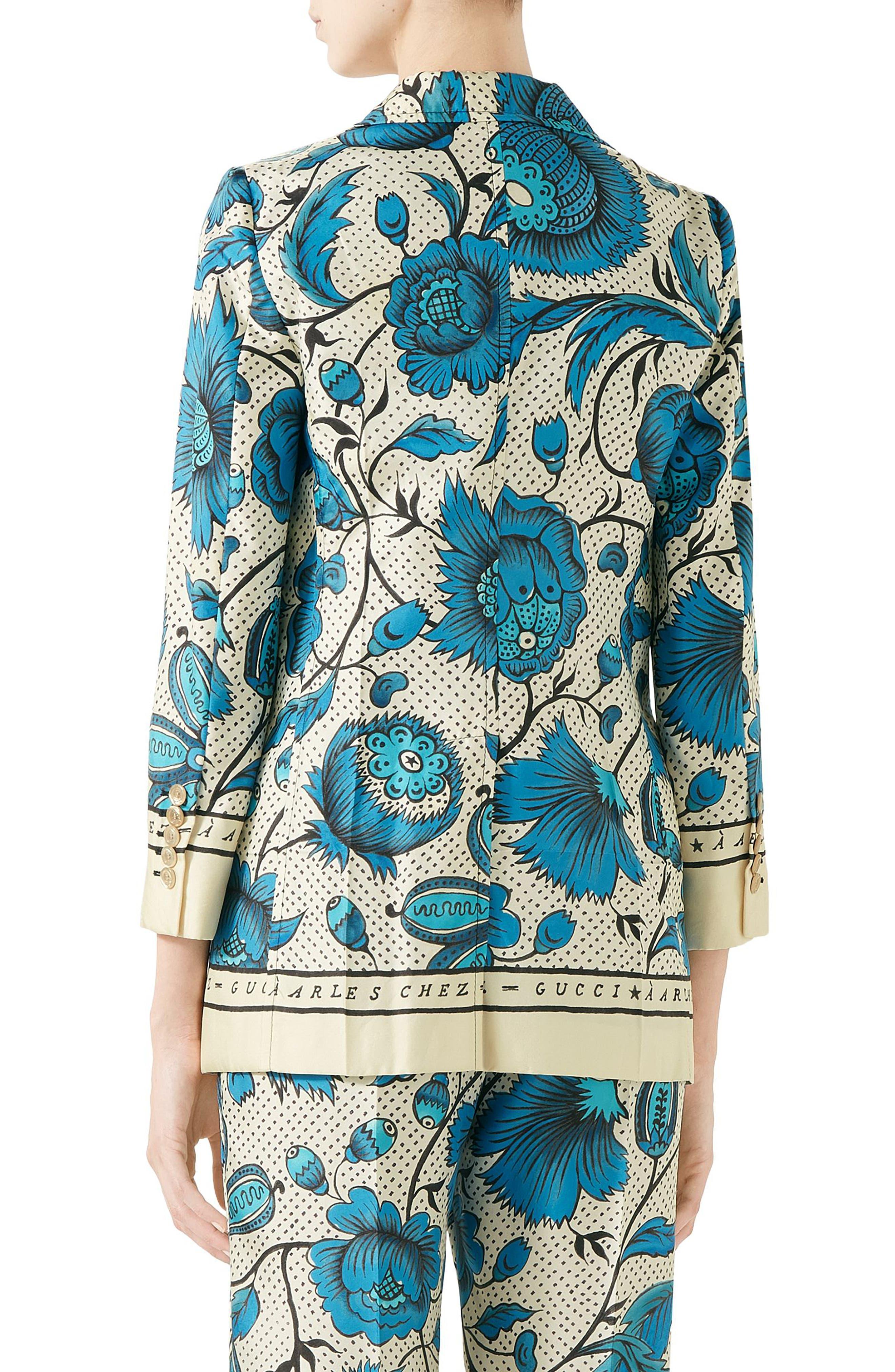 Watercolor Floral Print Silk Jacket,                             Alternate thumbnail 6, color,                             4821 BLUE/ IVORY PRT/ MC