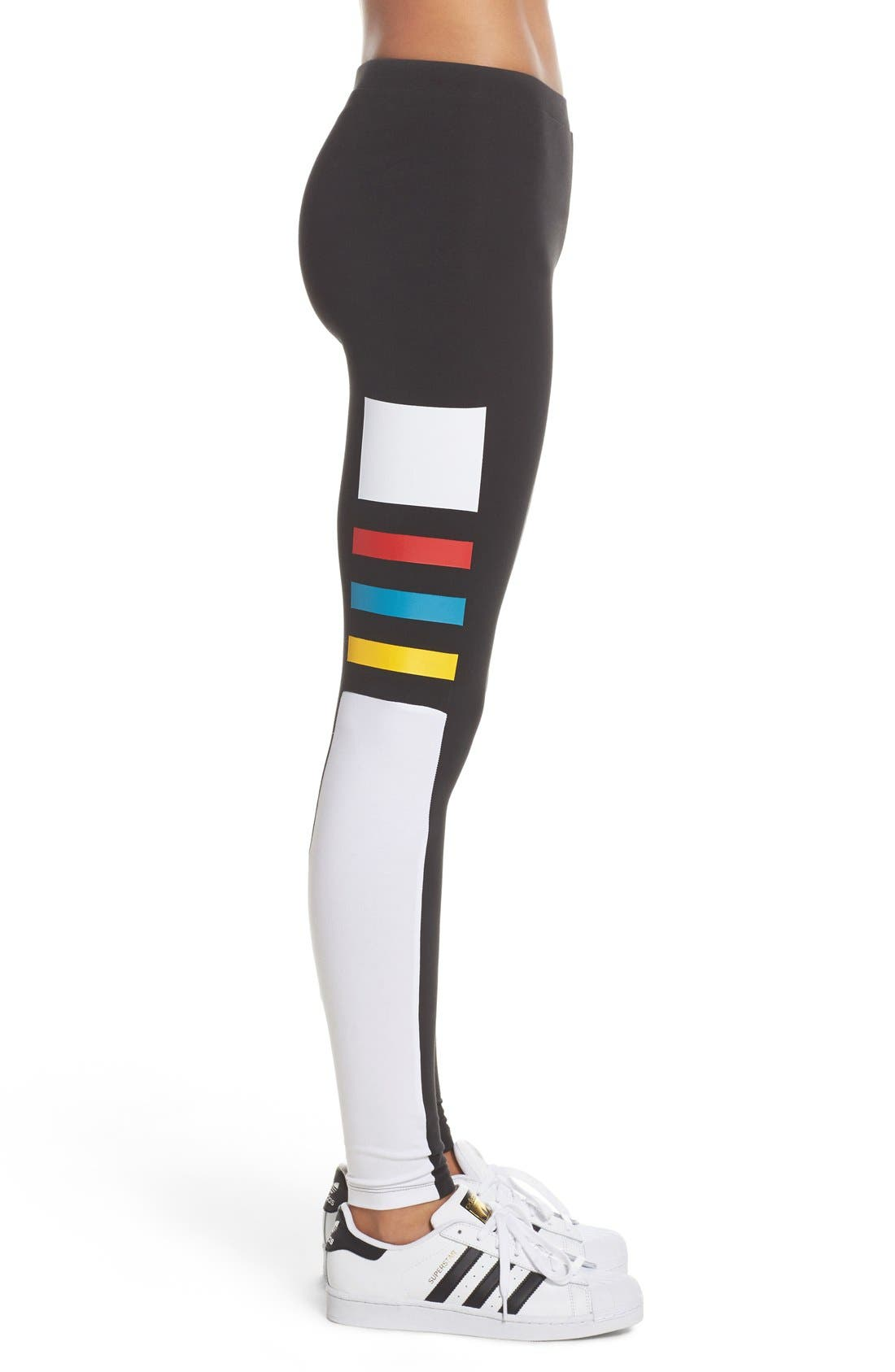 ADIDAS,                             Originals Colorblock Stretch Cotton Leggings,                             Alternate thumbnail 4, color,                             001