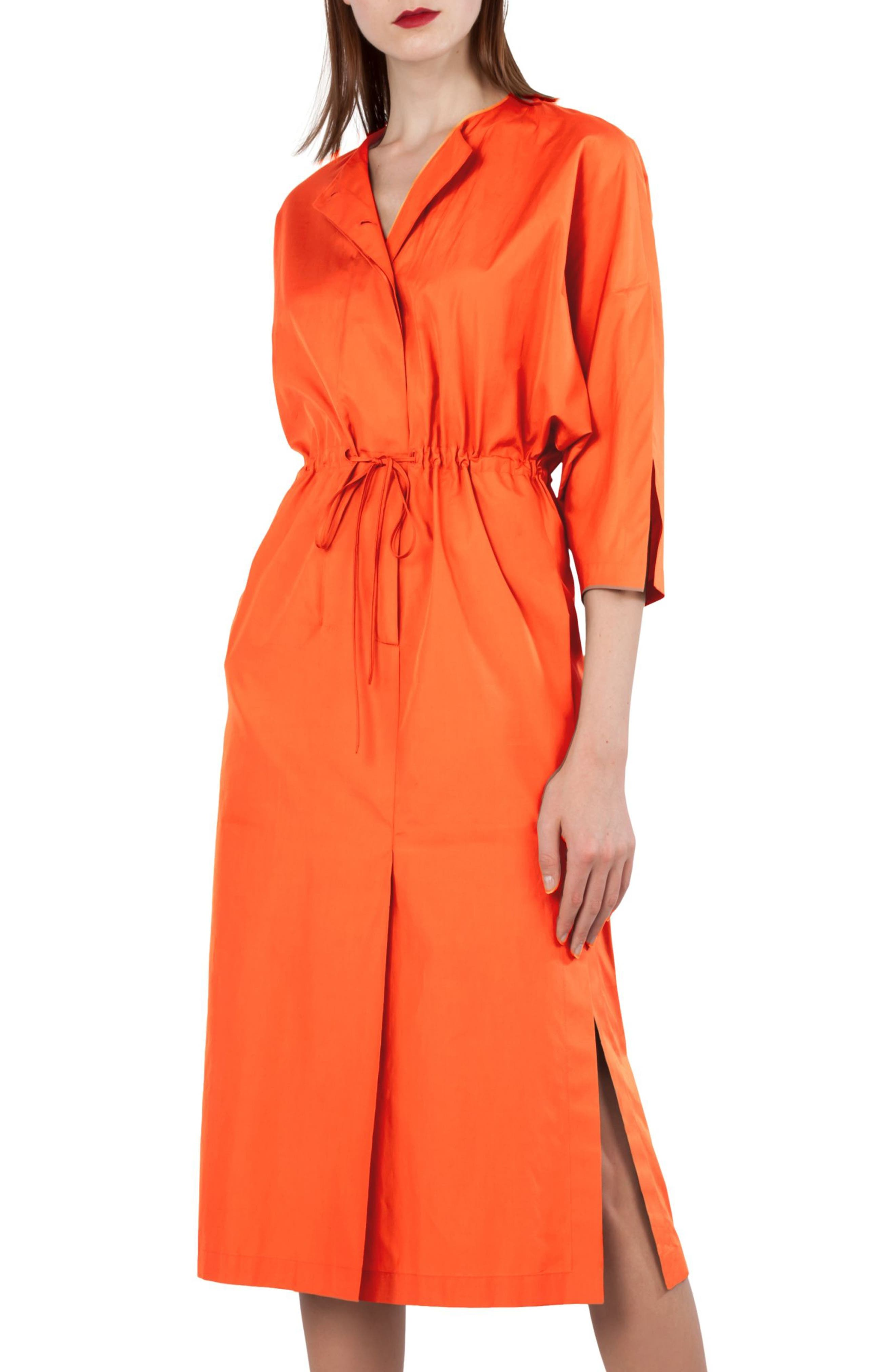 Kimono Sleeve Cotton Poplin Dress,                             Main thumbnail 1, color,
