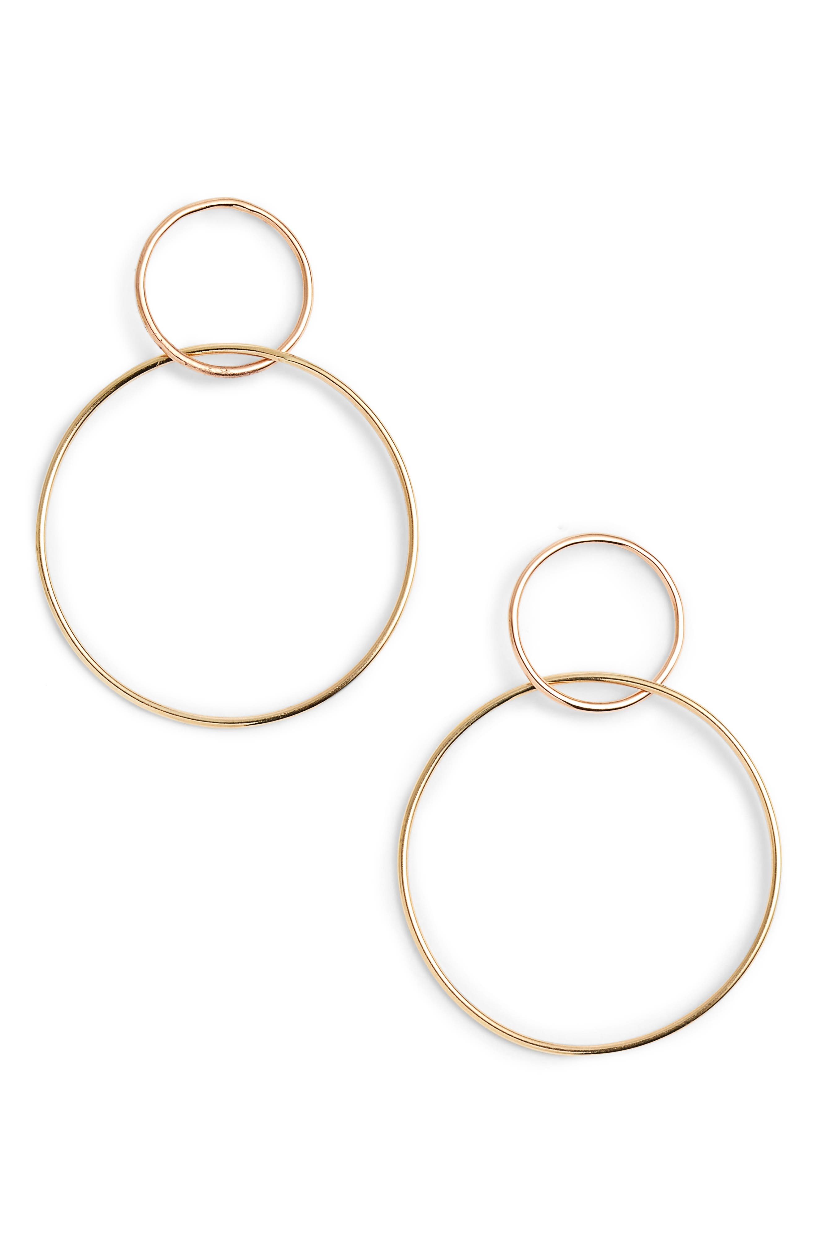 Two Tone Double Loop Earrings,                             Main thumbnail 1, color,                             YELLOW GOLD/ WHITE GOLD
