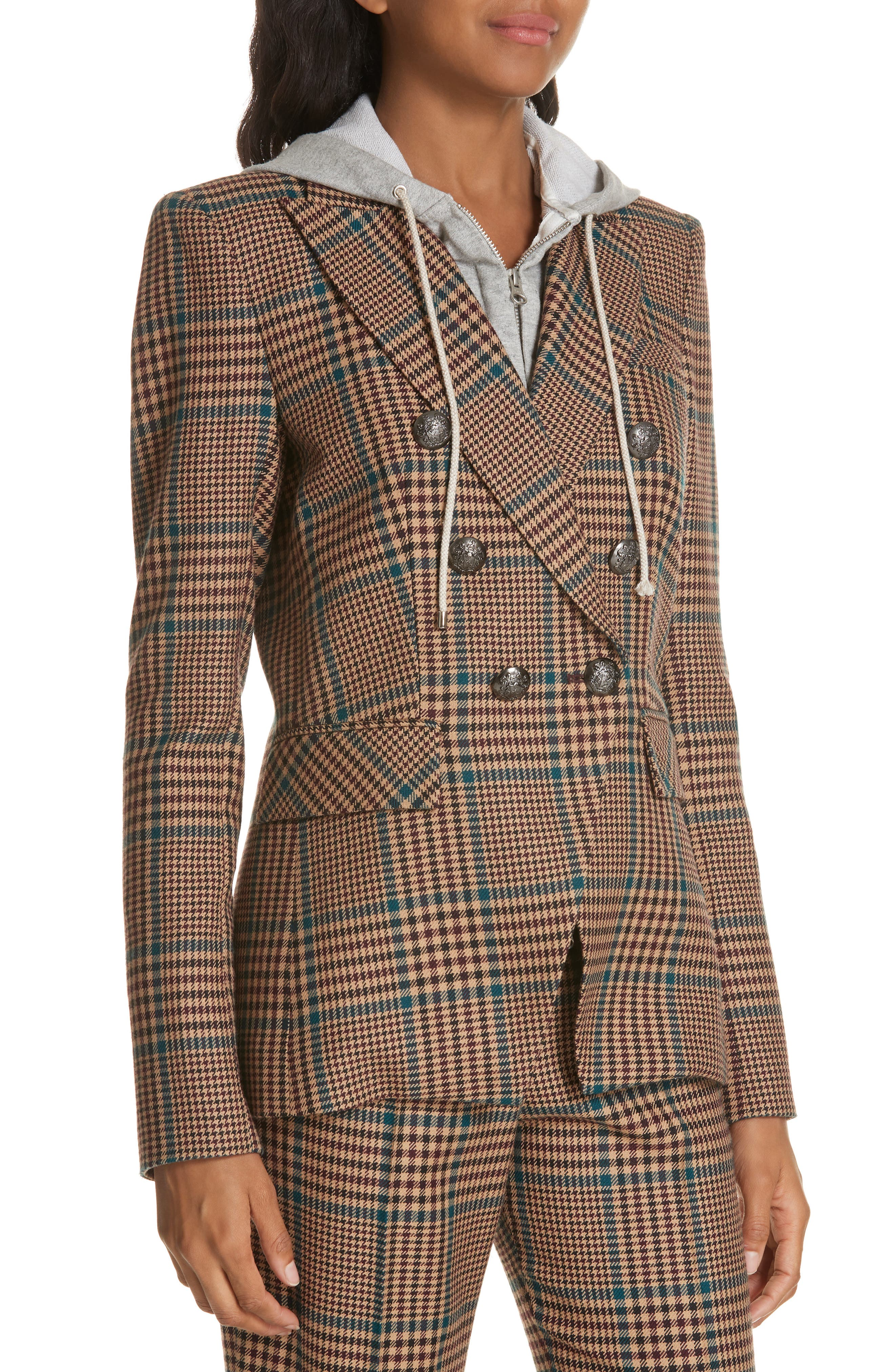 Miller Wool Blend Dickey Jacket,                             Alternate thumbnail 4, color,                             PETROL MULTI