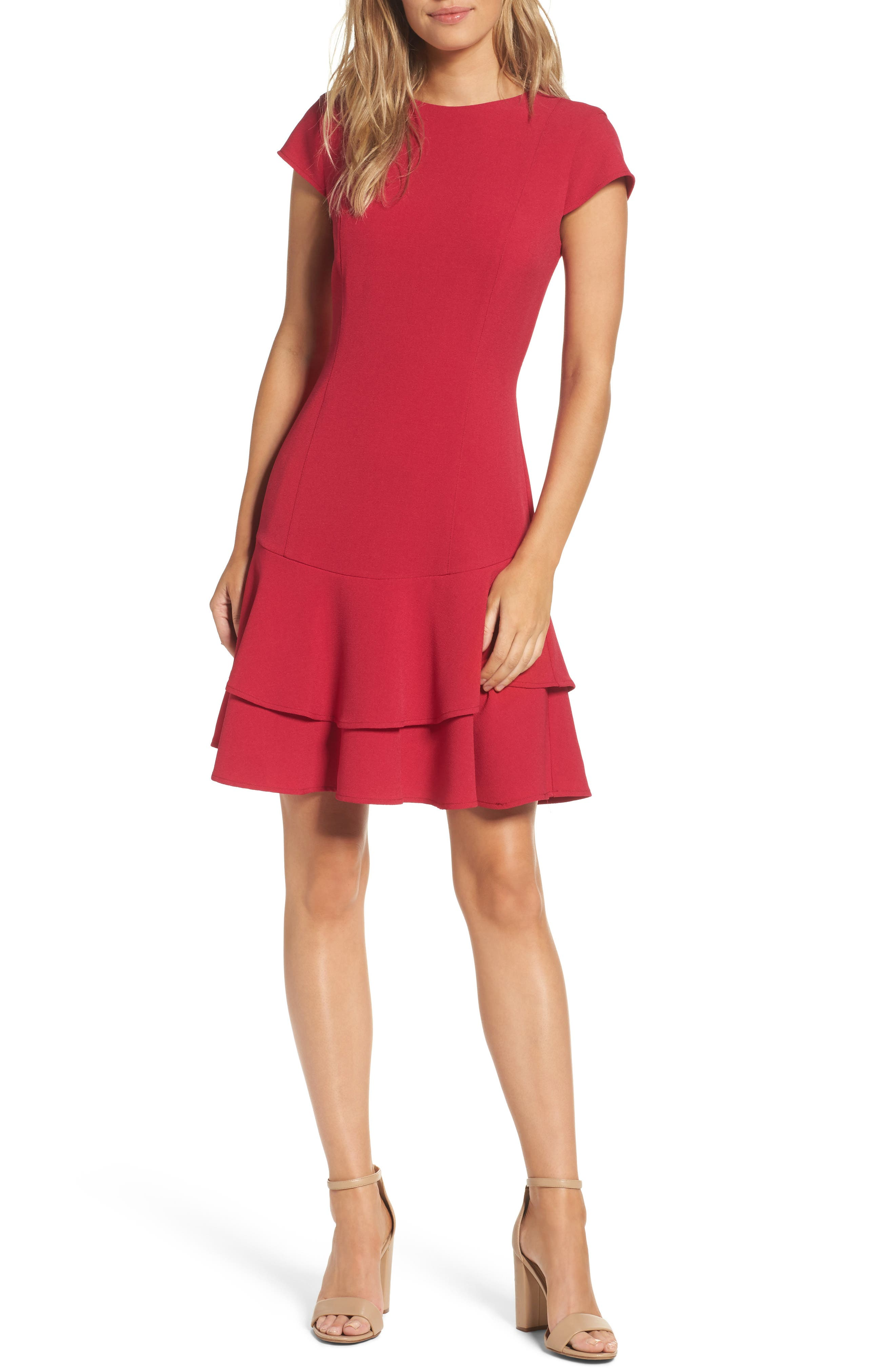 petite women's eliza j stretch ruffle crepe sheath dress, size 2p - red