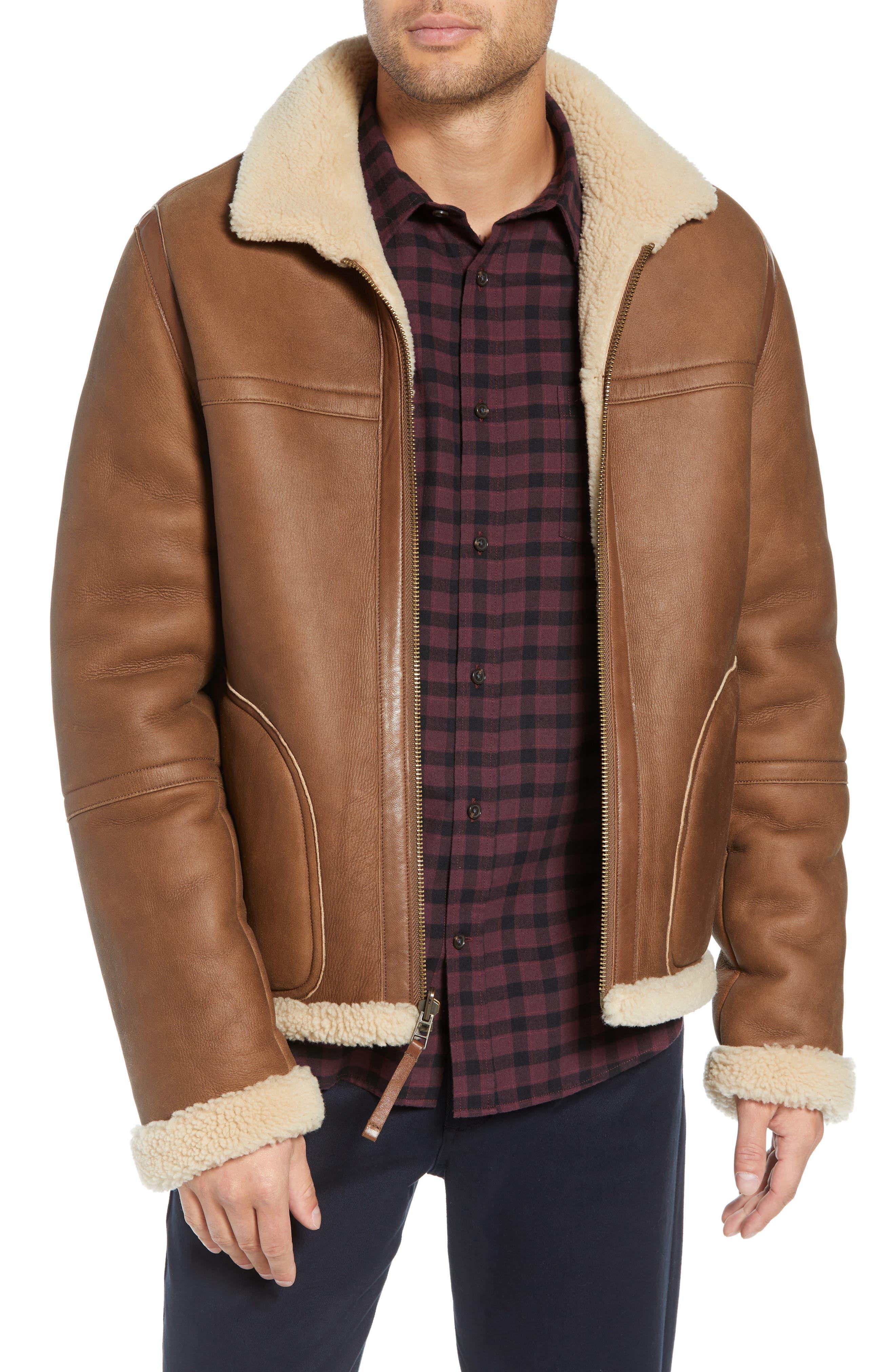 Reversible Genuine Shearling Jacket,                         Main,                         color, 117