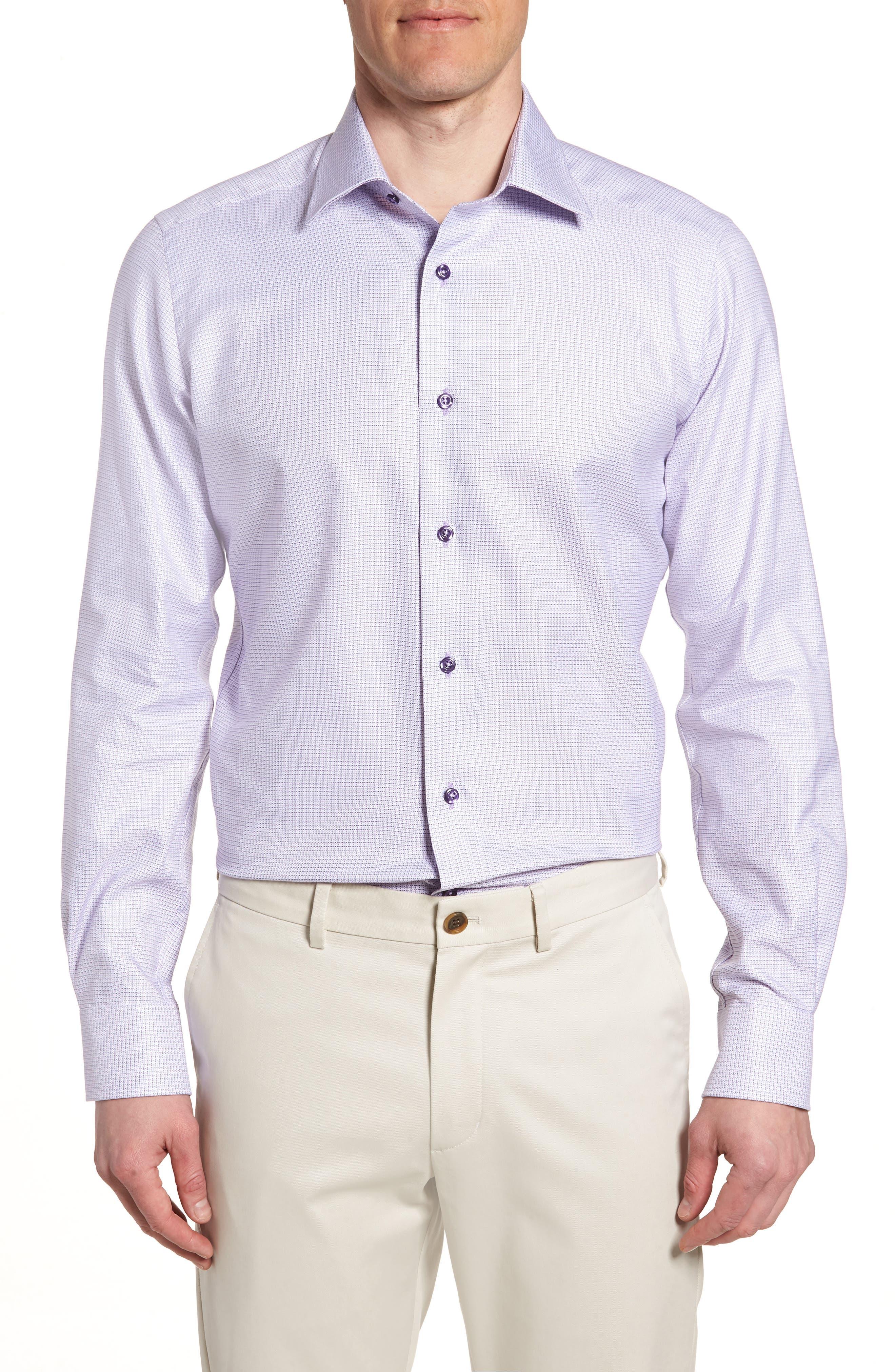 Trim Fit Check Dress Shirt,                             Main thumbnail 1, color,                             LILAC