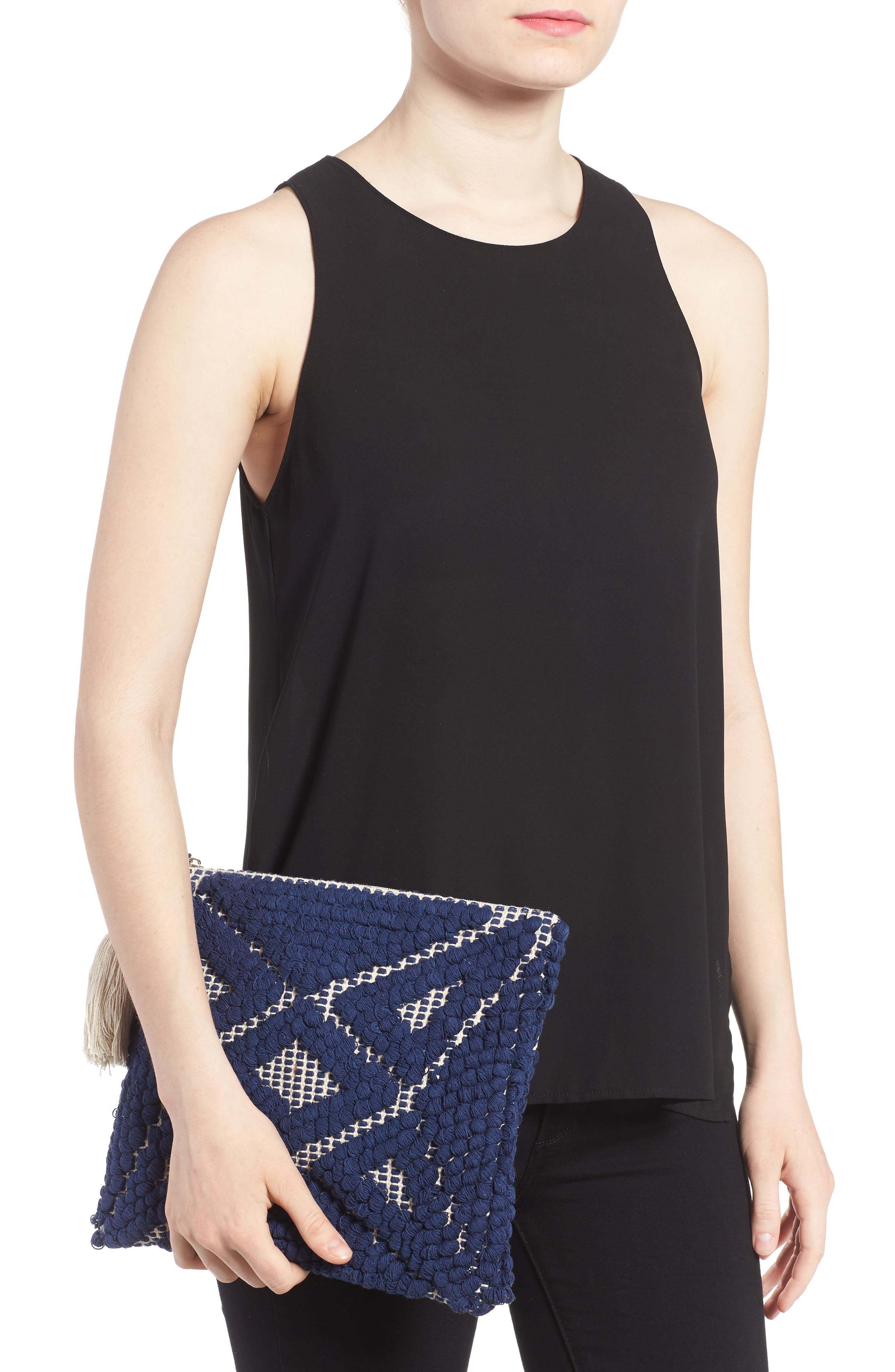 Palisades Tasseled Woven Clutch,                             Alternate thumbnail 9, color,