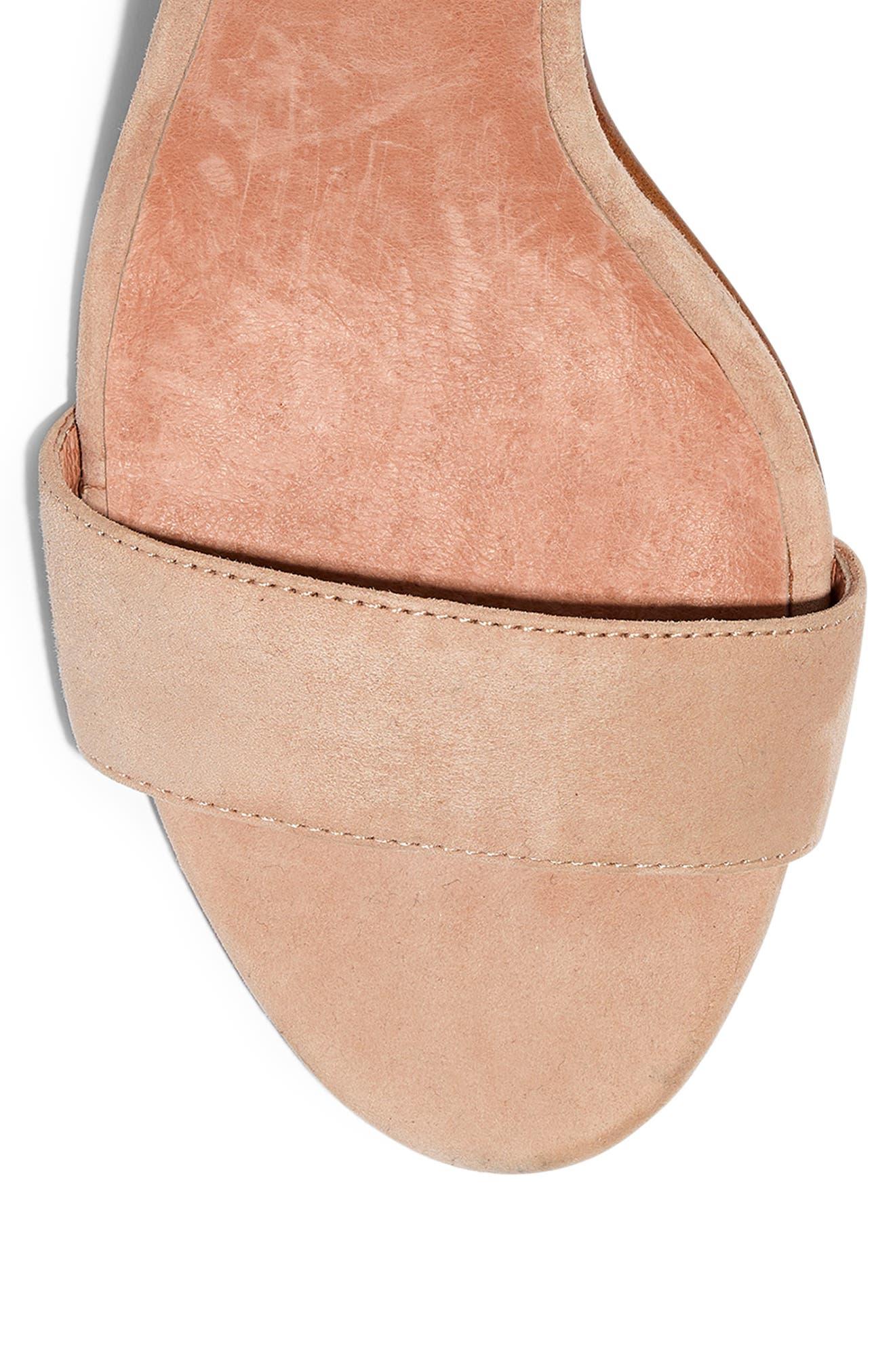 The Regina Ankle Strap Sandal,                             Alternate thumbnail 7, color,                             SAND DUNE SUEDE