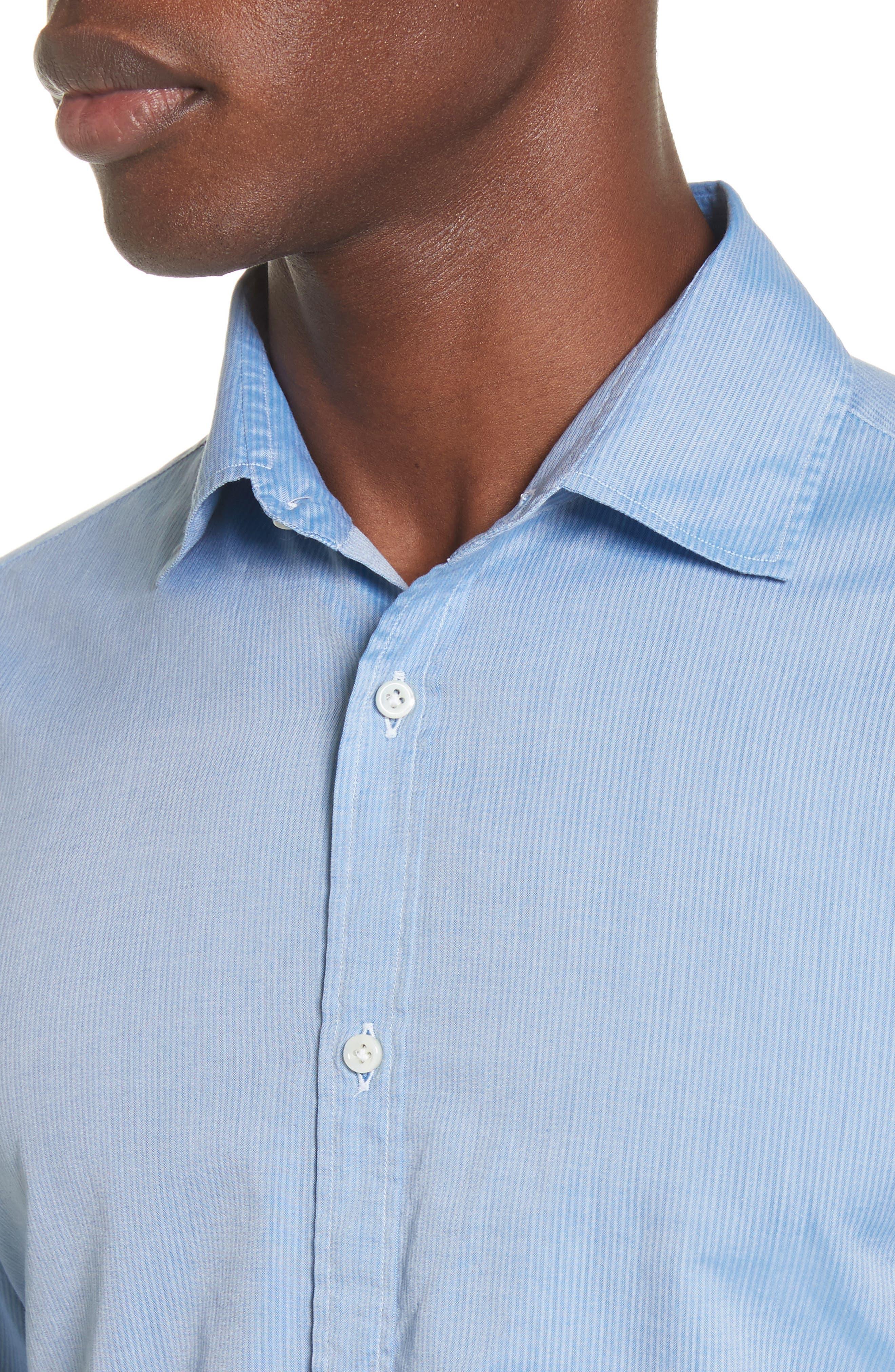 Napoli JB Washed Stripe Sport Shirt,                             Alternate thumbnail 4, color,                             400