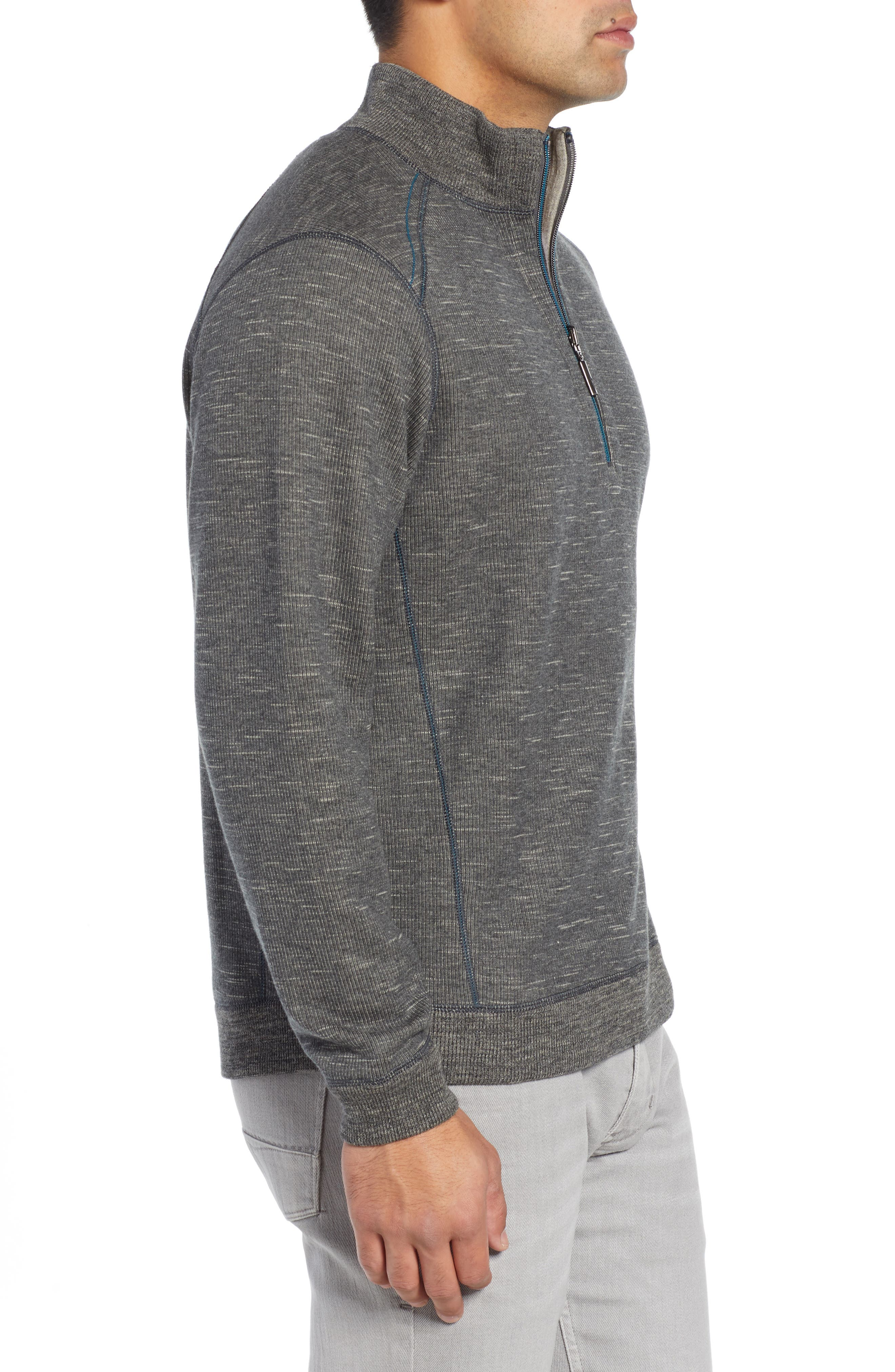 Flipsider Reversible Quarter-Zip Pullover,                             Alternate thumbnail 4, color,                             ONYX HEATHER