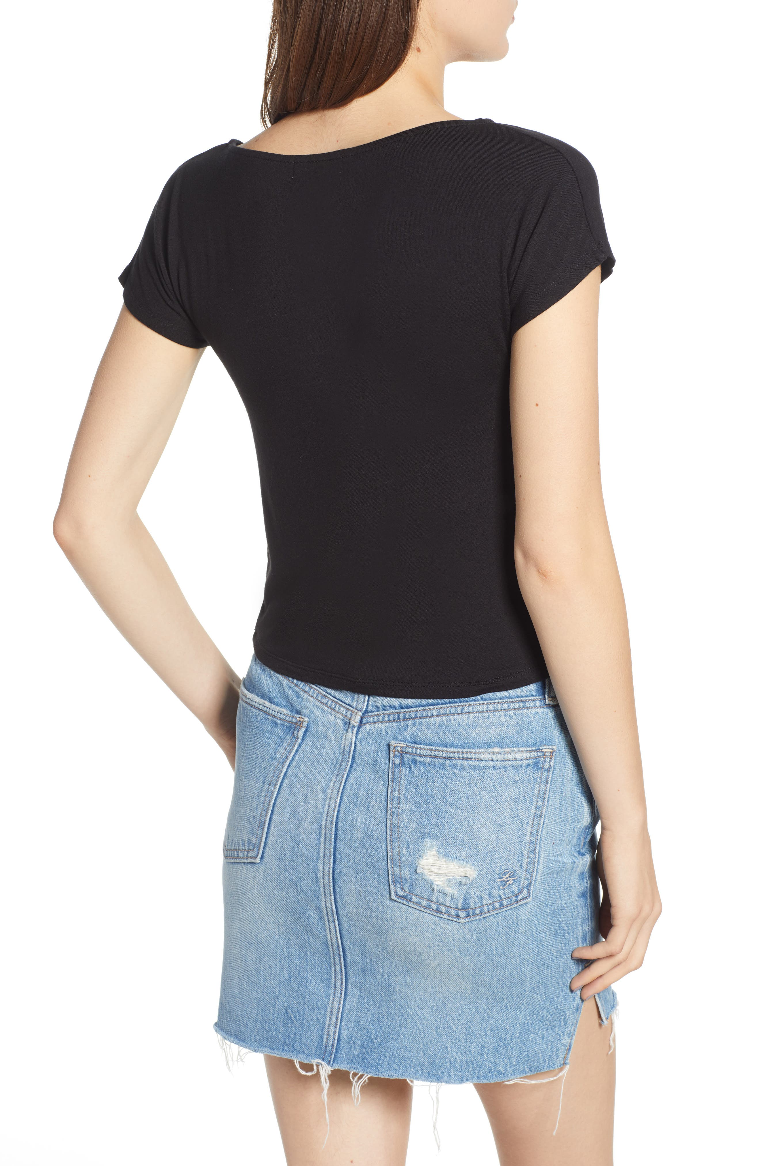 Cinch Front Tee,                             Alternate thumbnail 2, color,                             001