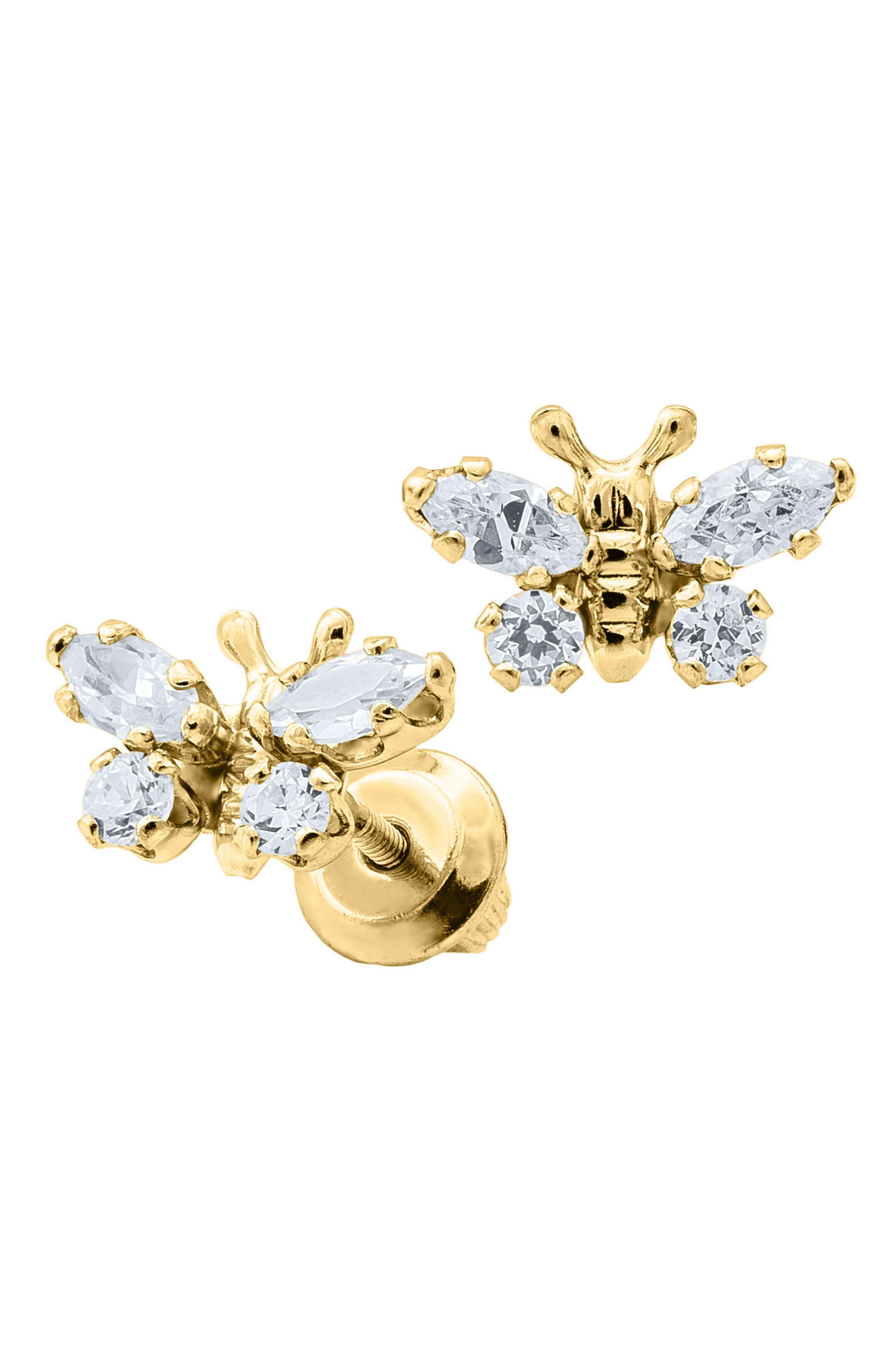 MIGNONETTE,                             Butterfly Birthstone Gold Earrings,                             Alternate thumbnail 2, color,                             APRIL