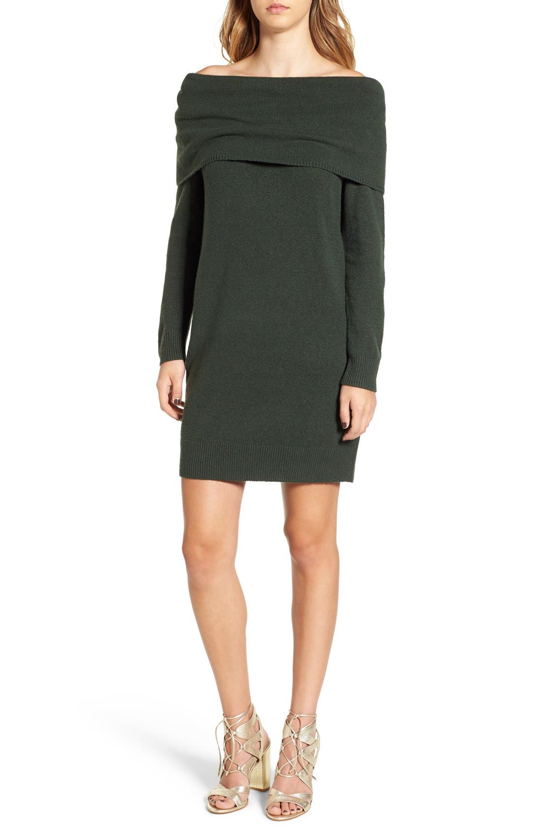 Off the Shoulder Sweater Dress,                             Main thumbnail 1, color,                             301