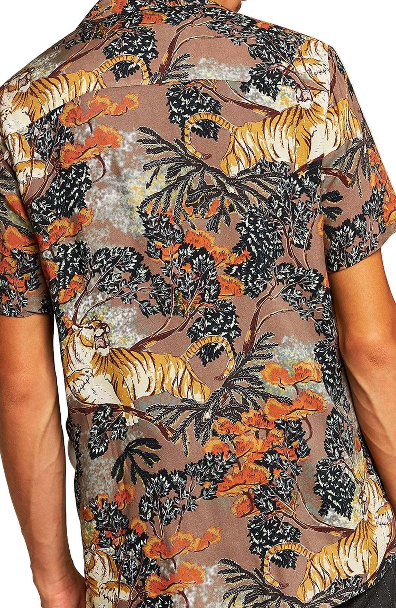 Suburb Tiger Print Shirt,                             Alternate thumbnail 3, color,                             ORANGE MULTI