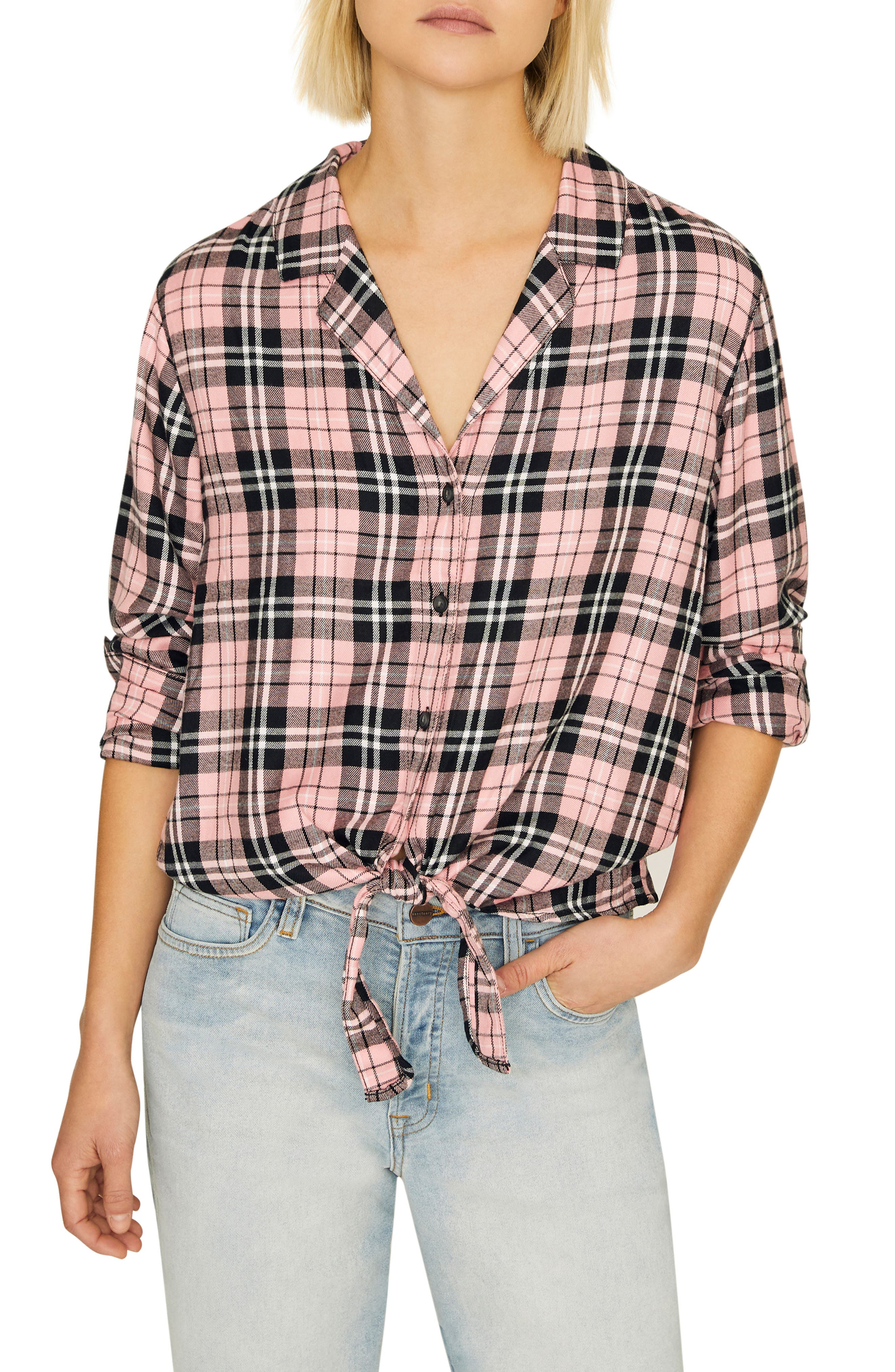 Haley Plaid Tie-Hem Shirt in After Party Plaid
