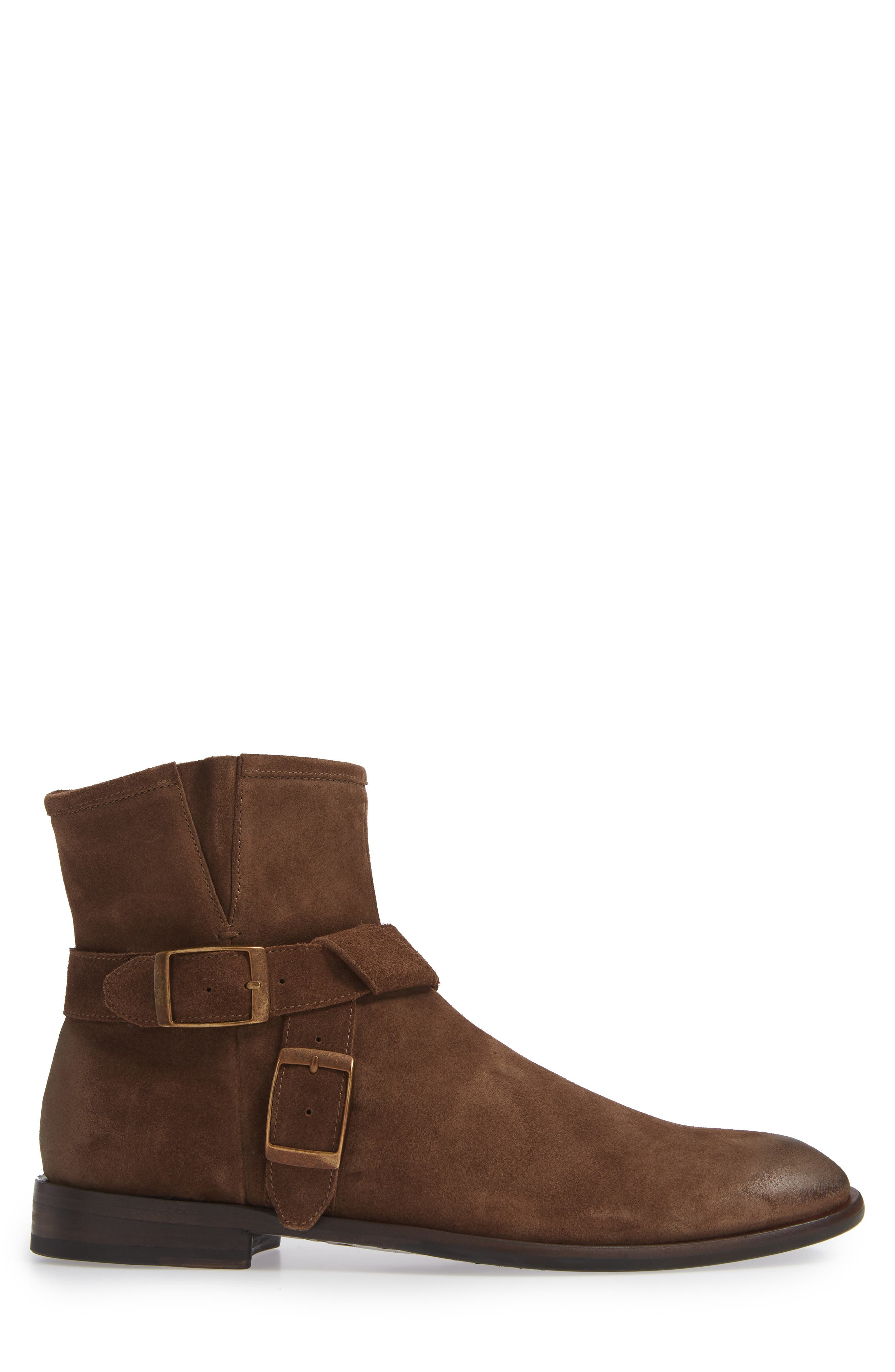 John Varvatos NYC Double Buckle Tall Boot,                             Alternate thumbnail 3, color,                             ANTIQUE BROWN SUEDE