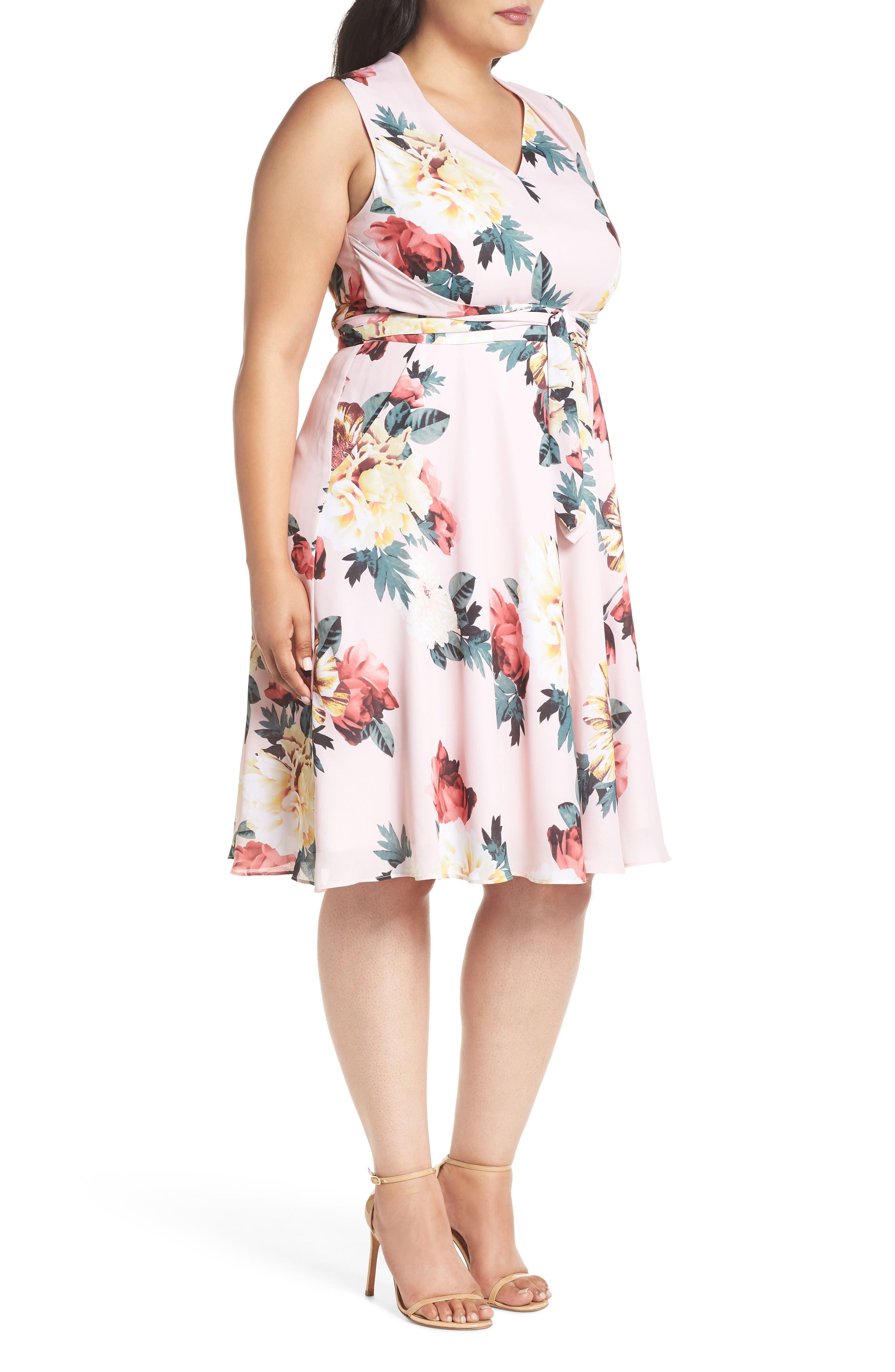 Floral Print Tie Waist Fit & Flare Dress,                             Alternate thumbnail 3, color,