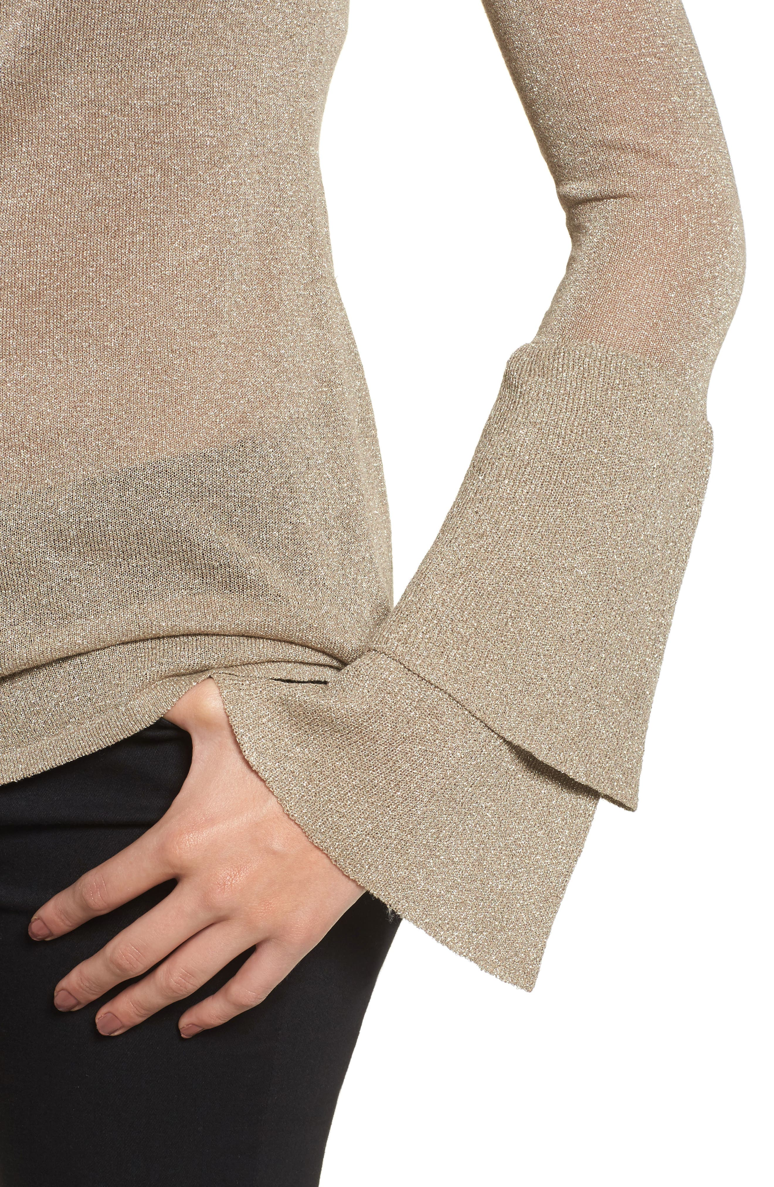 Ruffle Bell Sleeve Sweater,                             Alternate thumbnail 8, color,