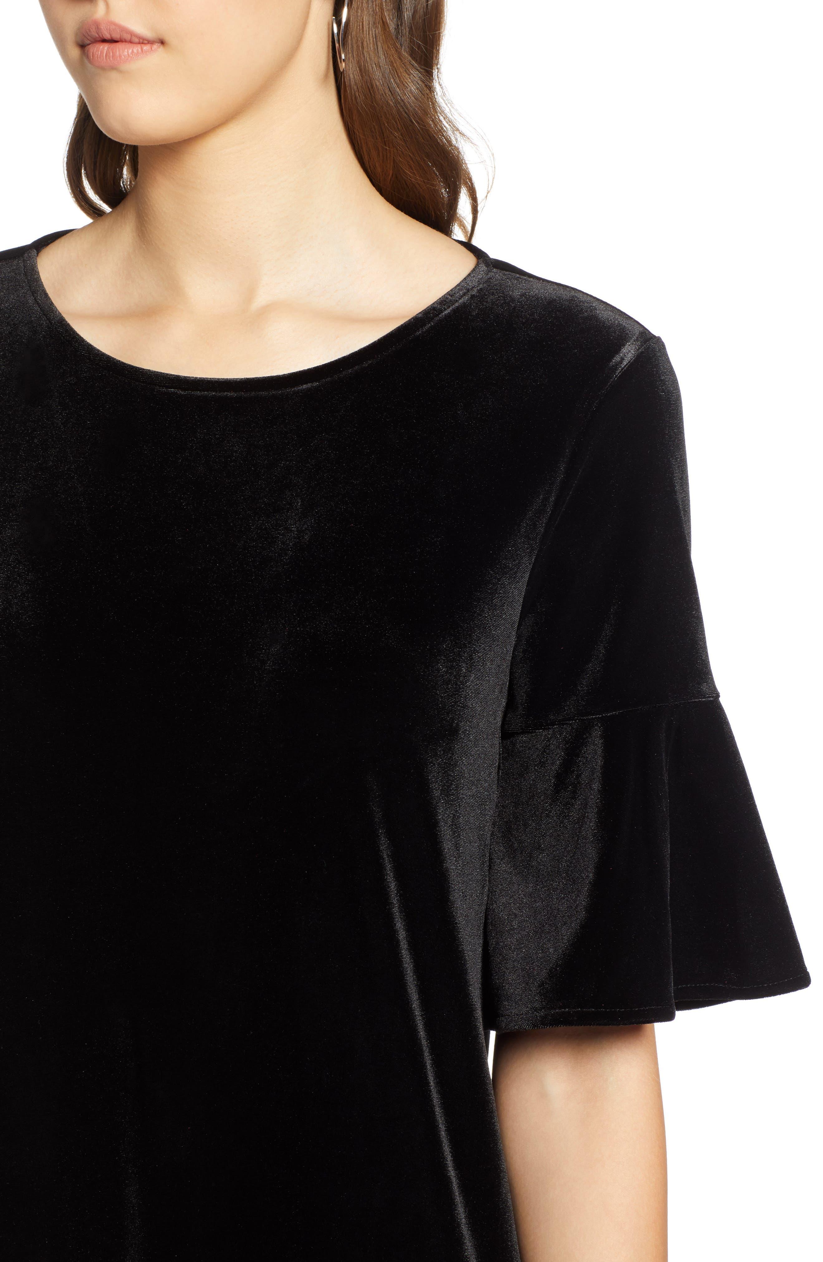 Ruffle Trim Velvet Dress,                             Alternate thumbnail 4, color,                             BLACK