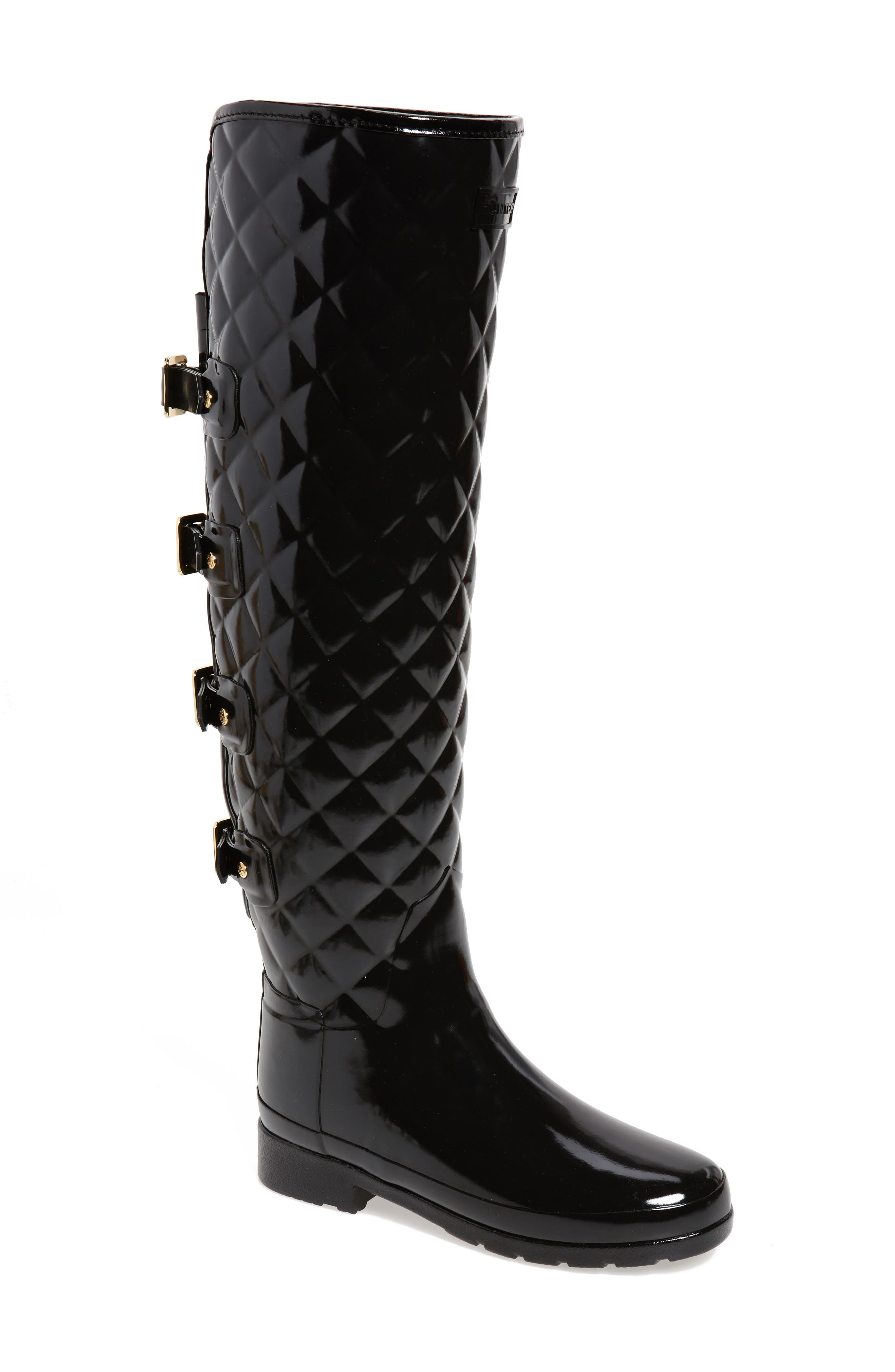 Refined Gloss Quilted Over the Knee Rain Boot,                             Main thumbnail 1, color,                             001
