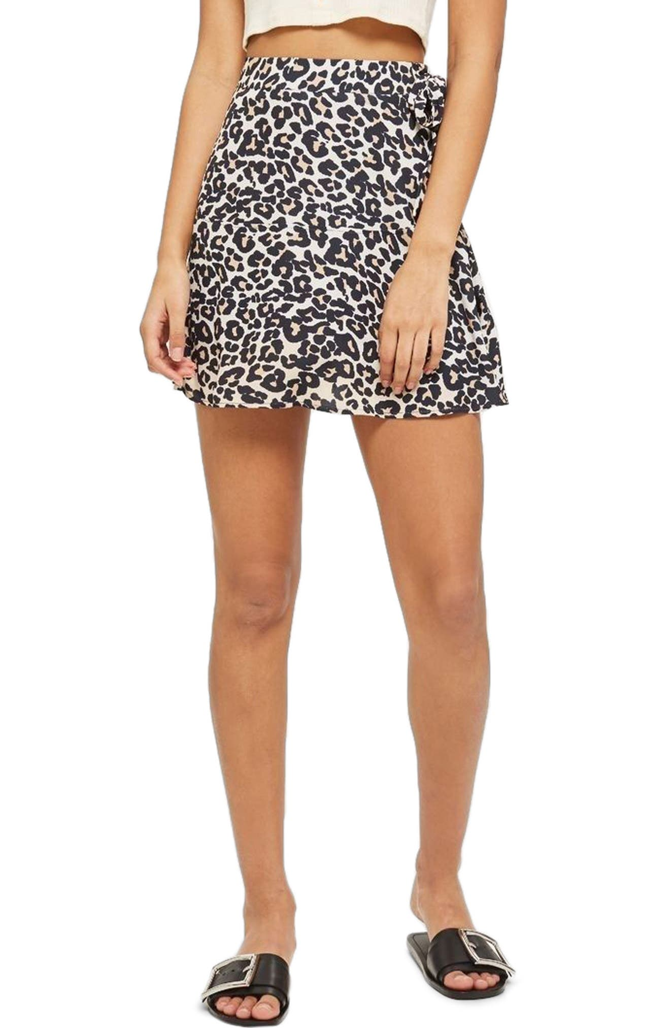 Leopard Print Miniskirt,                             Main thumbnail 1, color,                             211