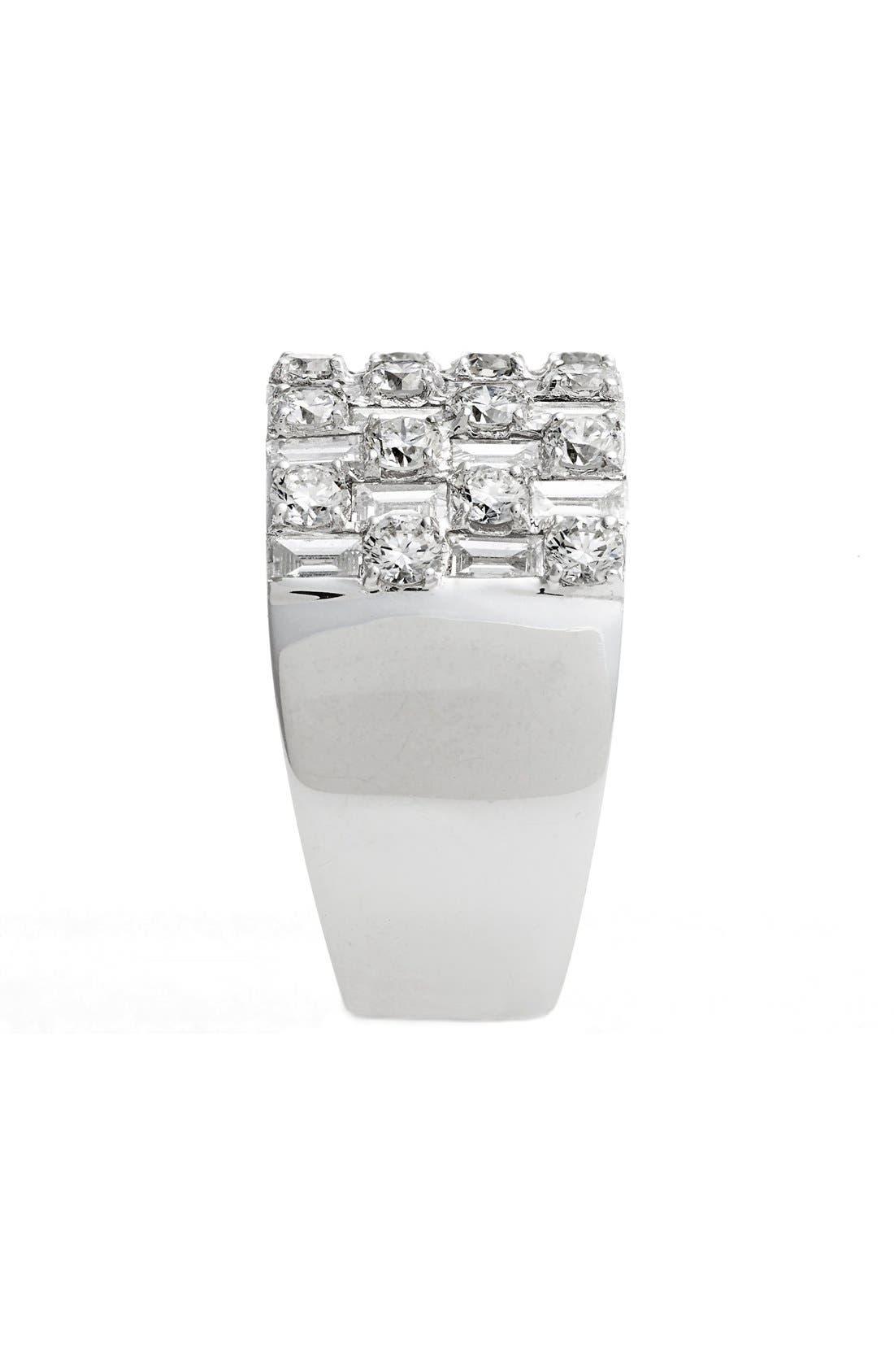 Multi Row Diamond Band Ring,                             Alternate thumbnail 3, color,                             WHITE GOLD