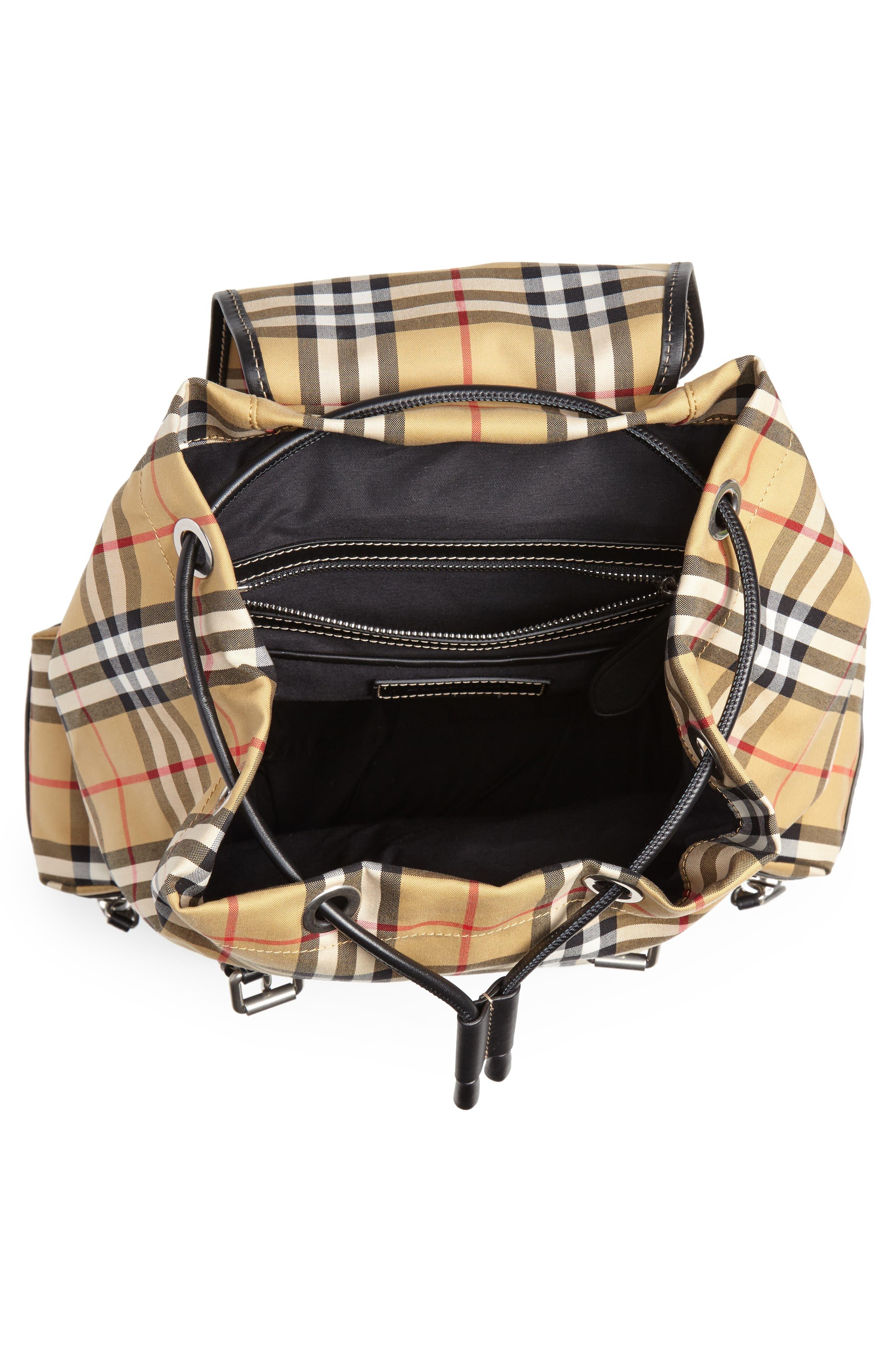 Medium Rucksack Check Cotton Backpack,                             Alternate thumbnail 4, color,                             ANTIQUE YELLOW