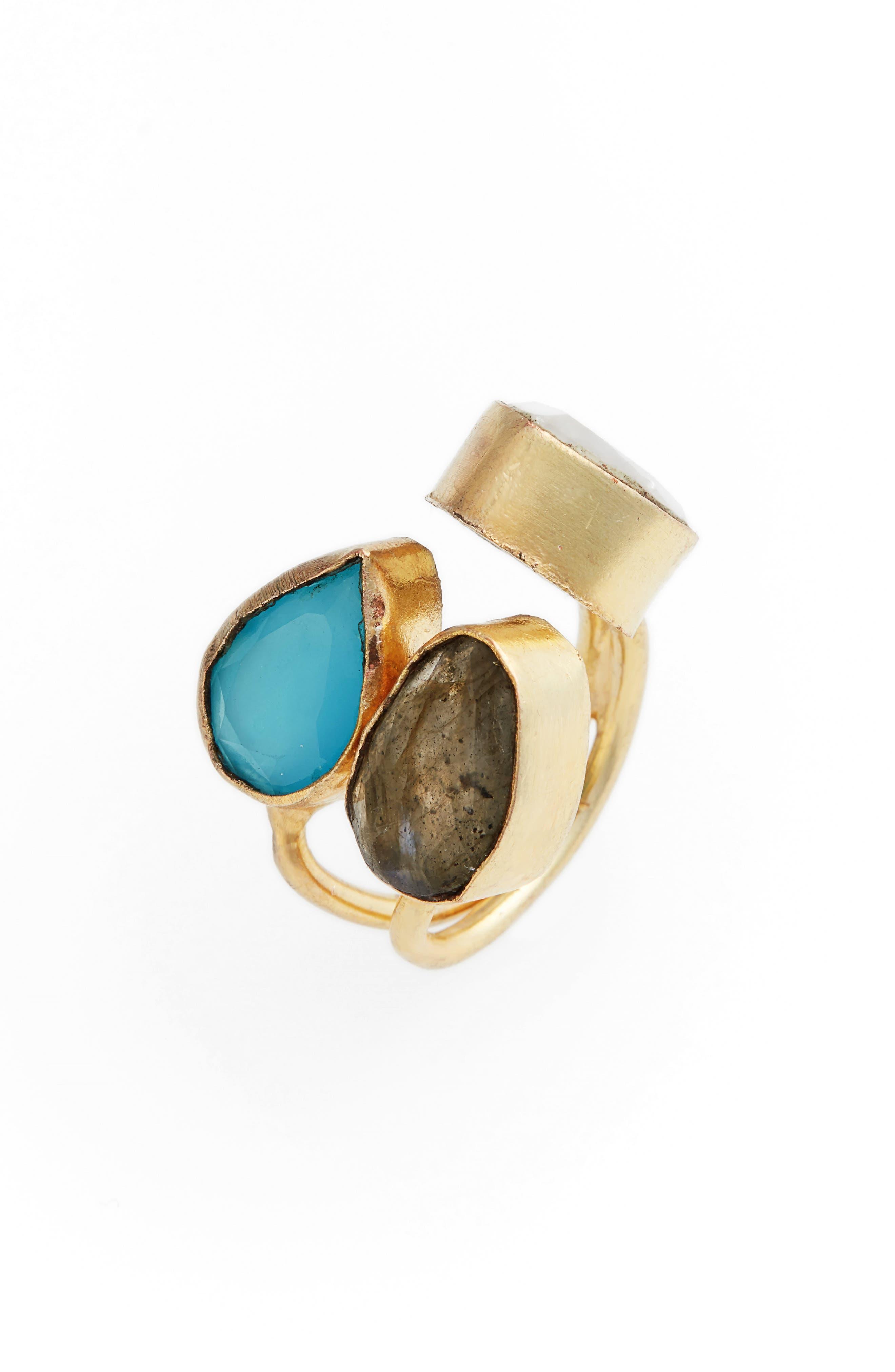 Kinara Moonstone, Labradorite & Chalcedony Ring,                             Main thumbnail 1, color,                             710