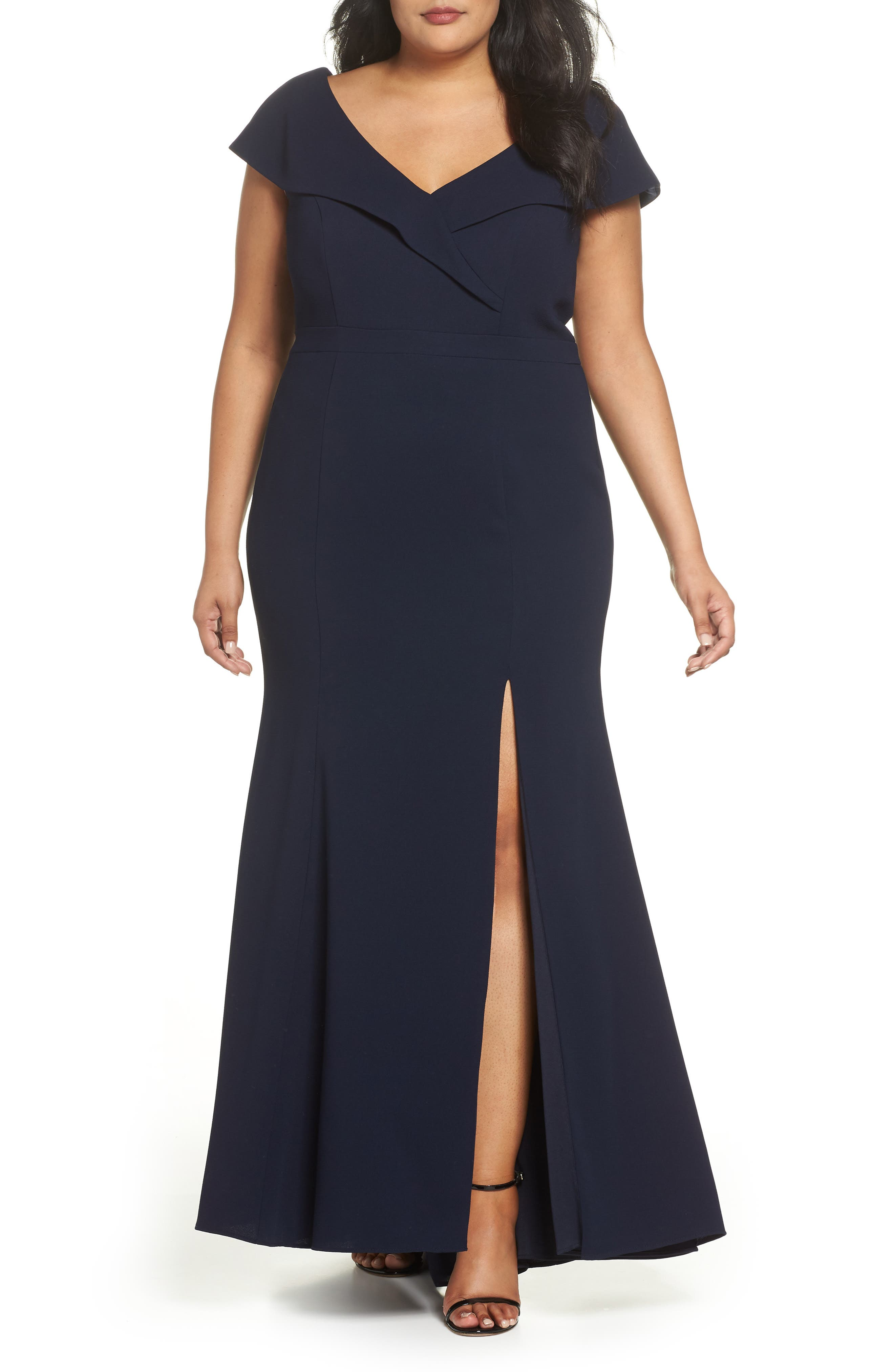 Foldover V-Neck Gown,                         Main,                         color, 400